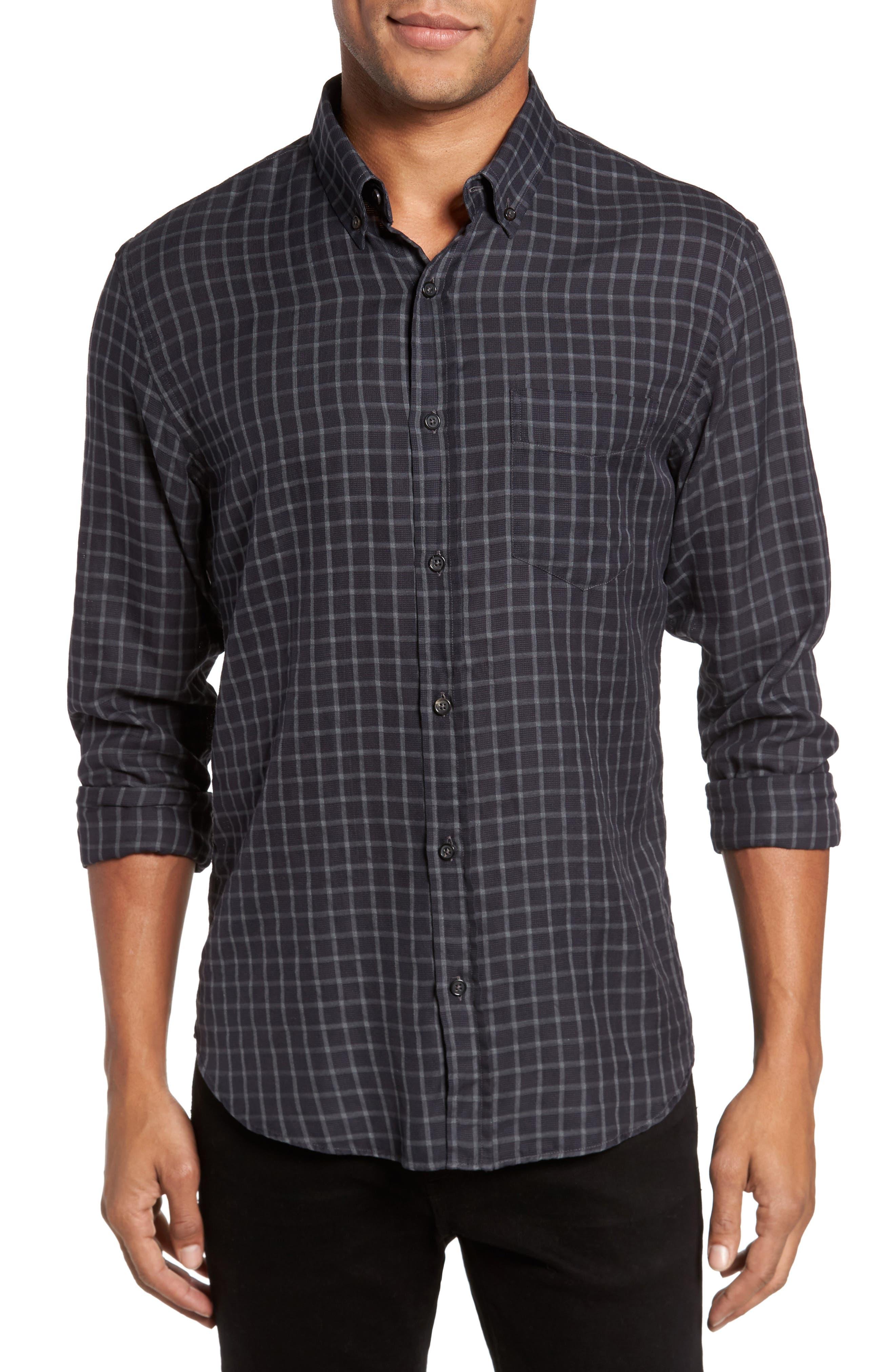 Rosedale Slim Fit Check Sport Shirt,                         Main,                         color, Navy/ Grey