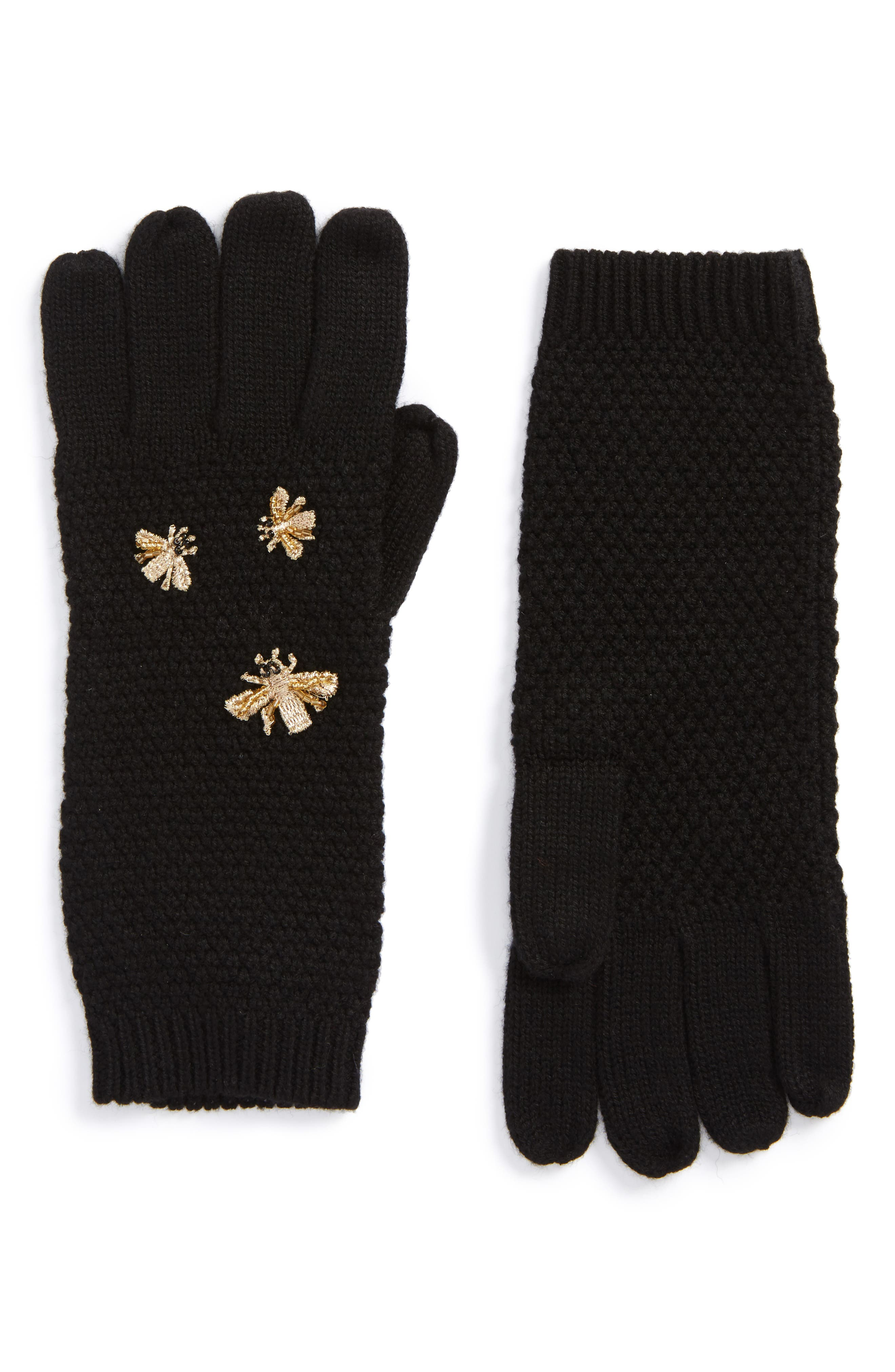 The Bees Knees Embellished Gloves,                             Main thumbnail 1, color,                             Black