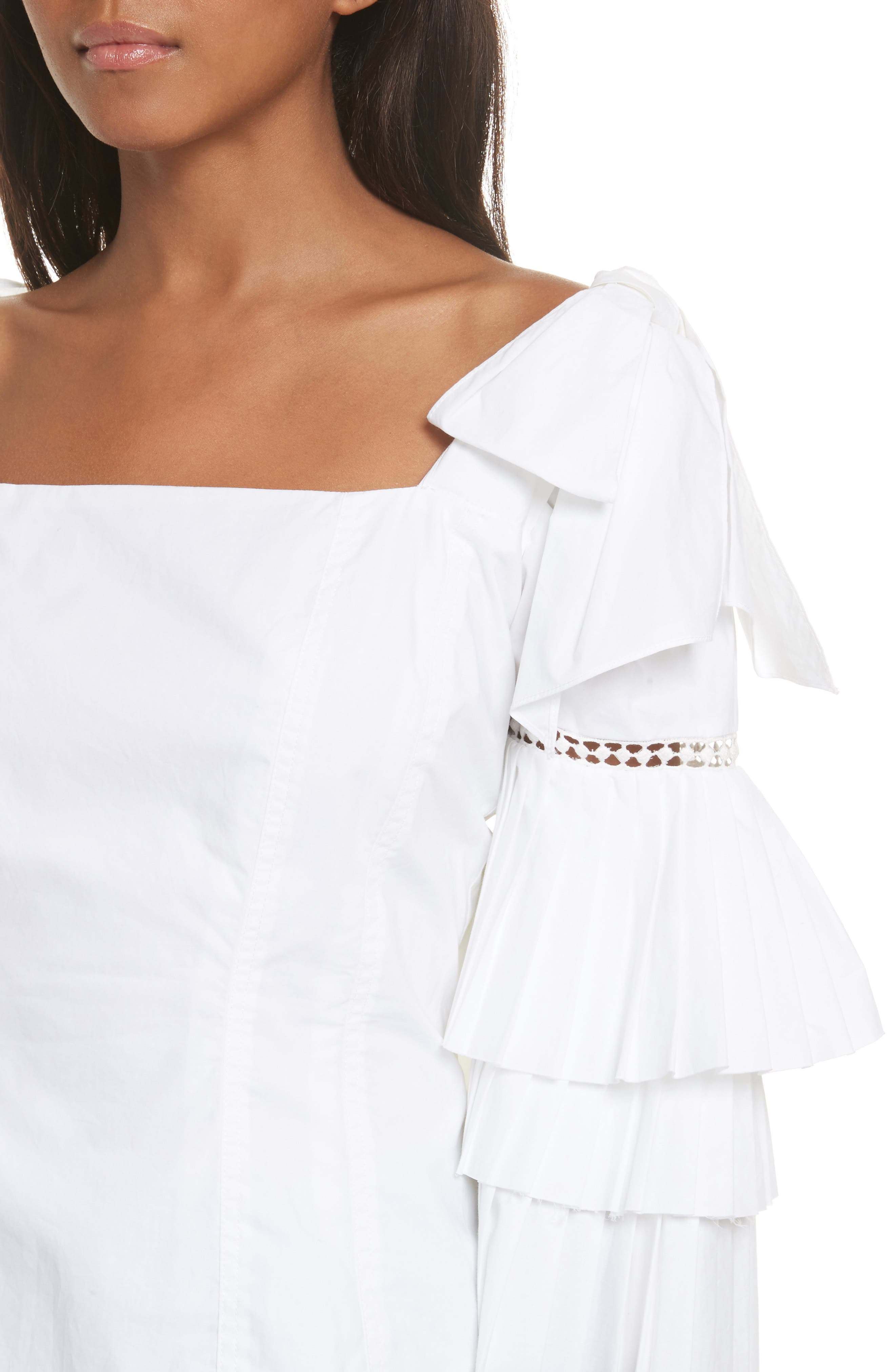 Antoinette Ruffle Sleeve Blouse,                             Alternate thumbnail 5, color,                             White