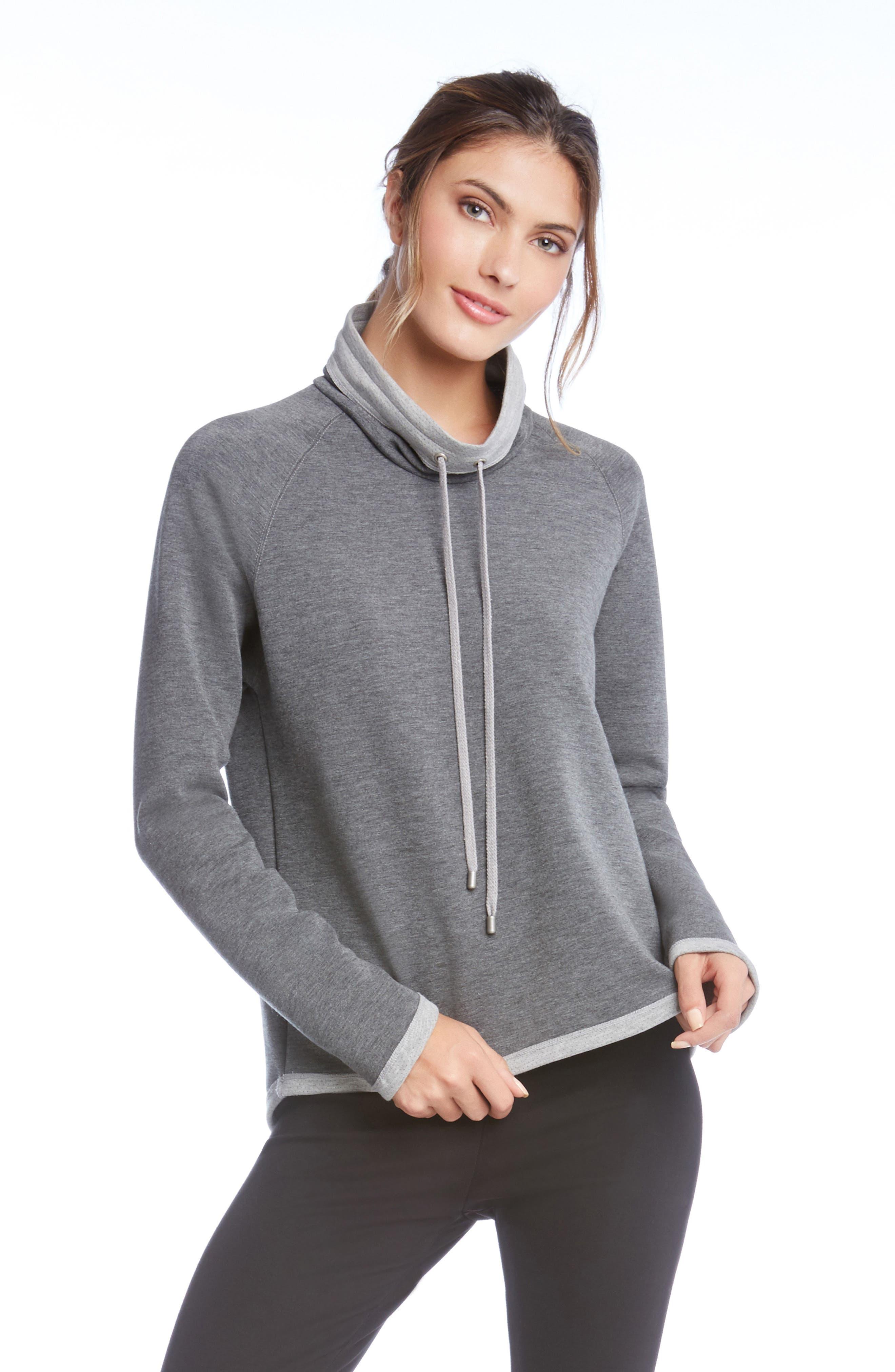 Alternate Image 2  - Karen Kane Drawstring Neck Contrast Trim Sweatshirt