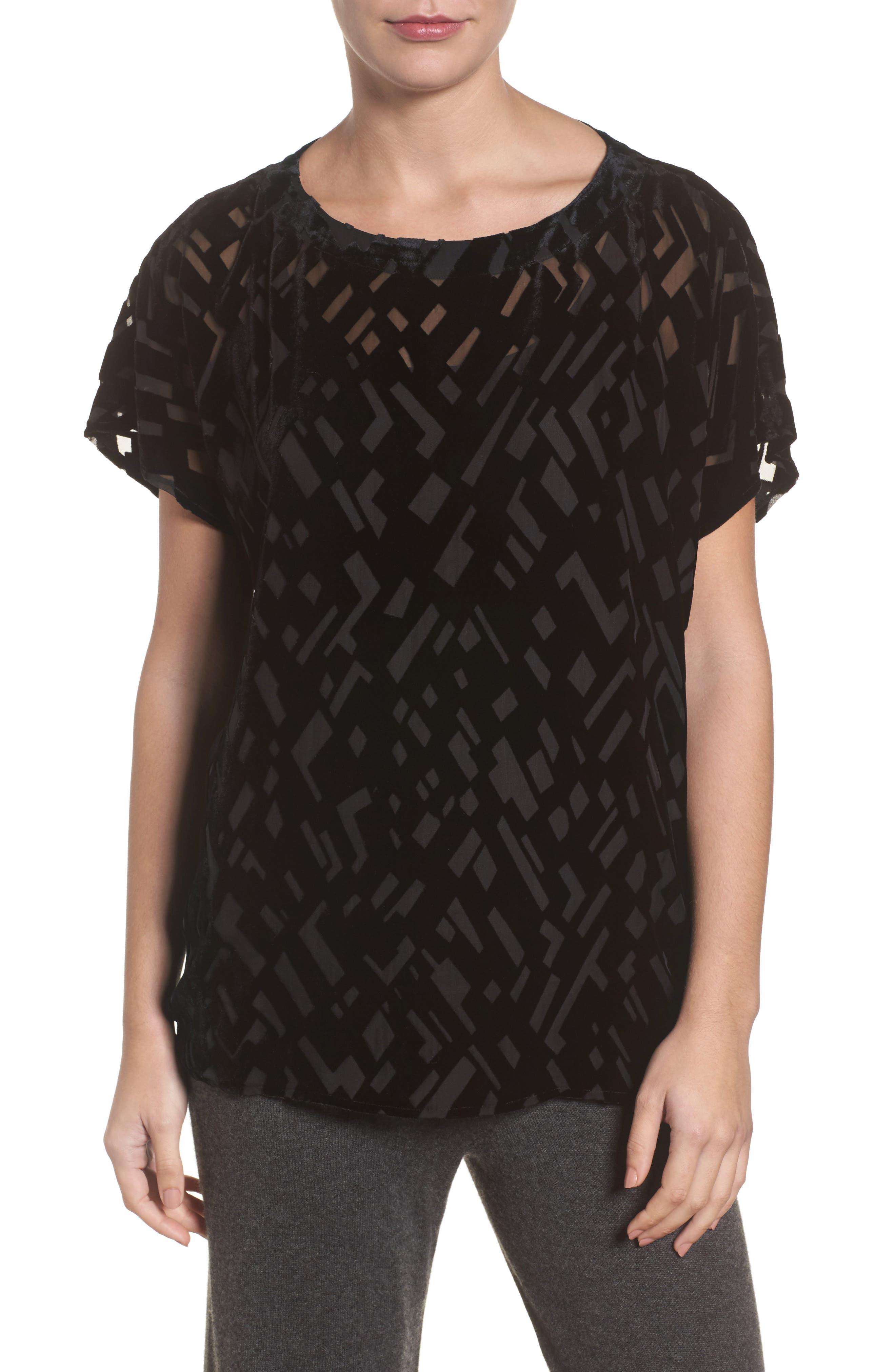 Boxy Velvet Burnout Top,                         Main,                         color, Black