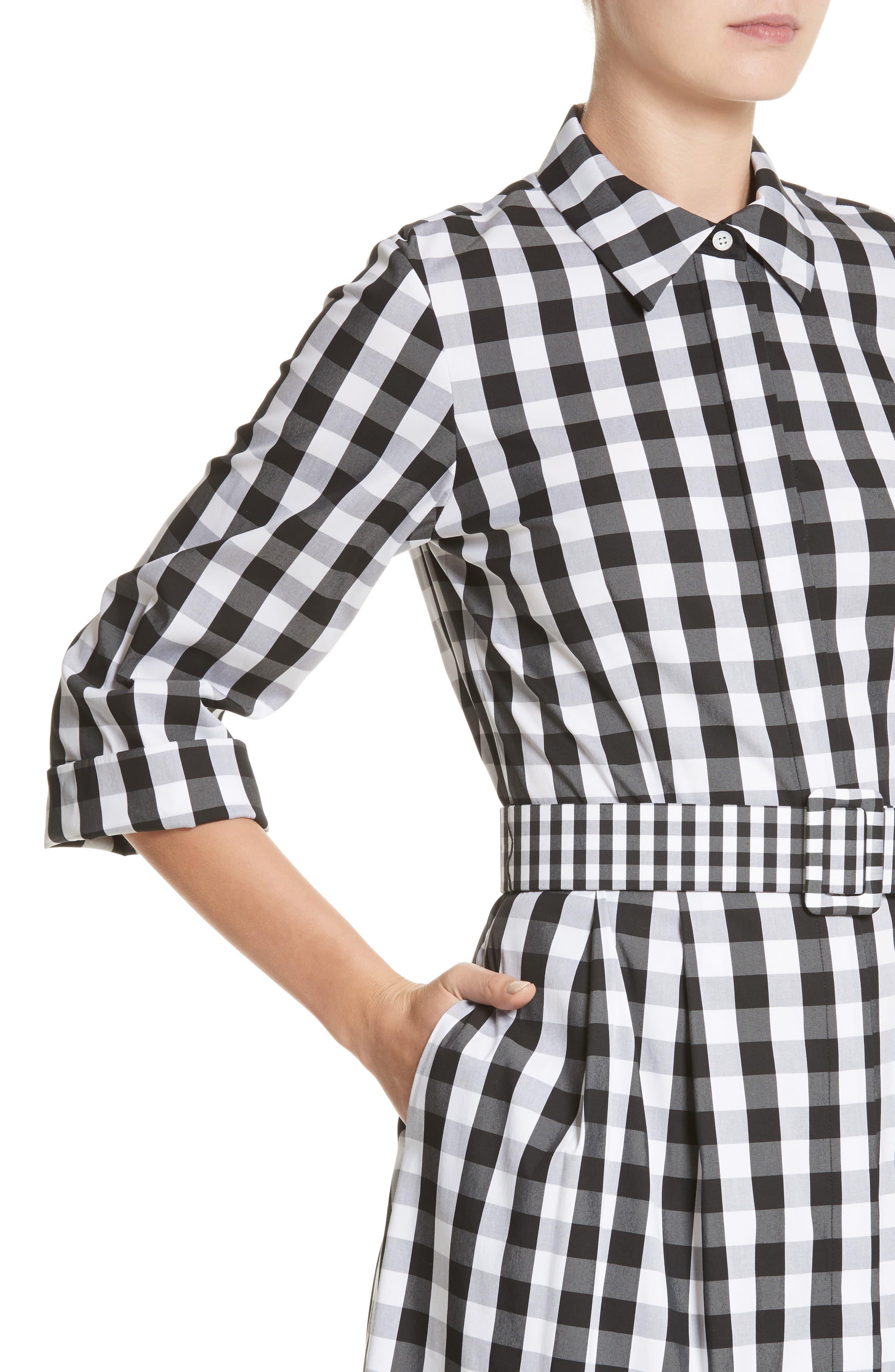 Eleni Gingham Shirtdress,                             Alternate thumbnail 4, color,                             Black Multi