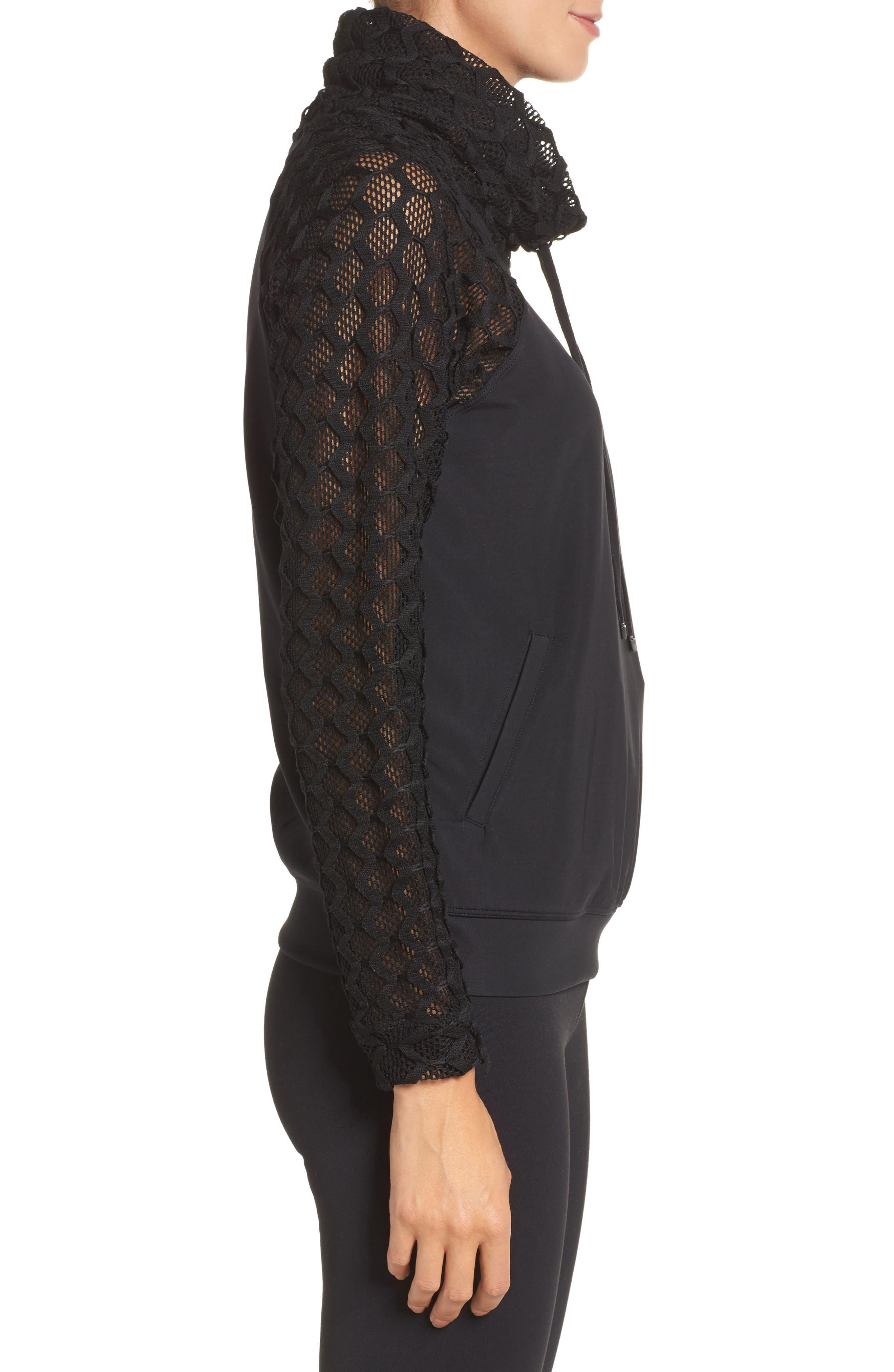 Mesh Sleeve Funnel Neck Pullover,                             Alternate thumbnail 3, color,                             Black
