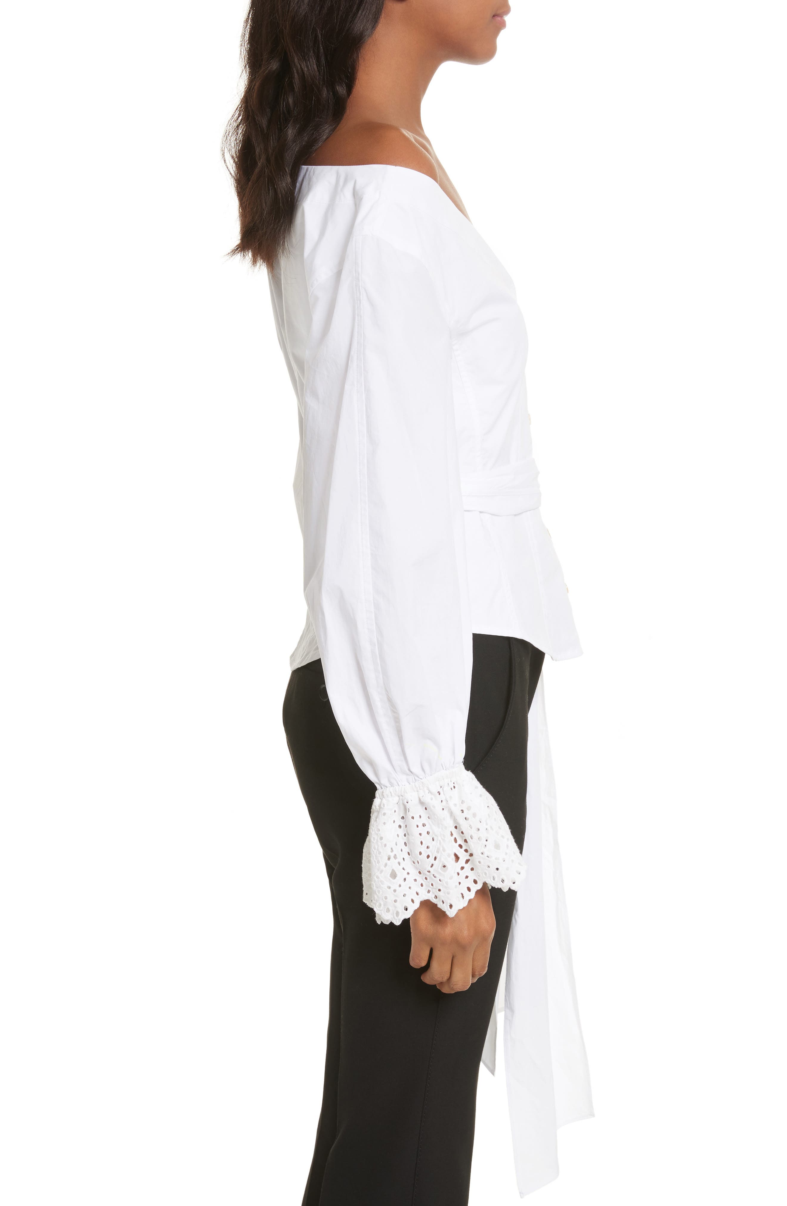 Eyelet Sleeve Poplin Top,                             Alternate thumbnail 4, color,                             Milk
