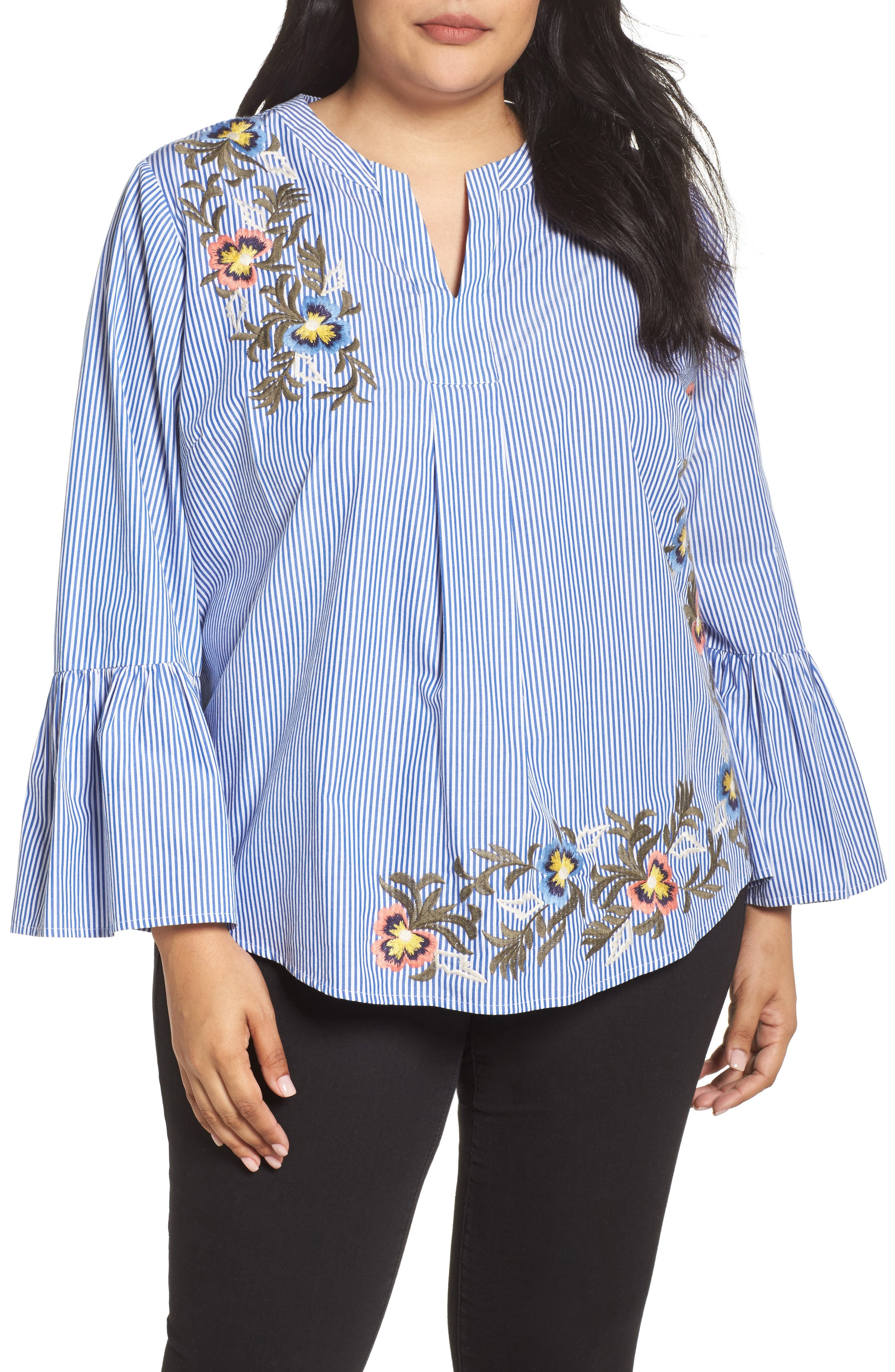 Embroidered Bell Sleeve Top,                         Main,                         color, Blue- White Pattern