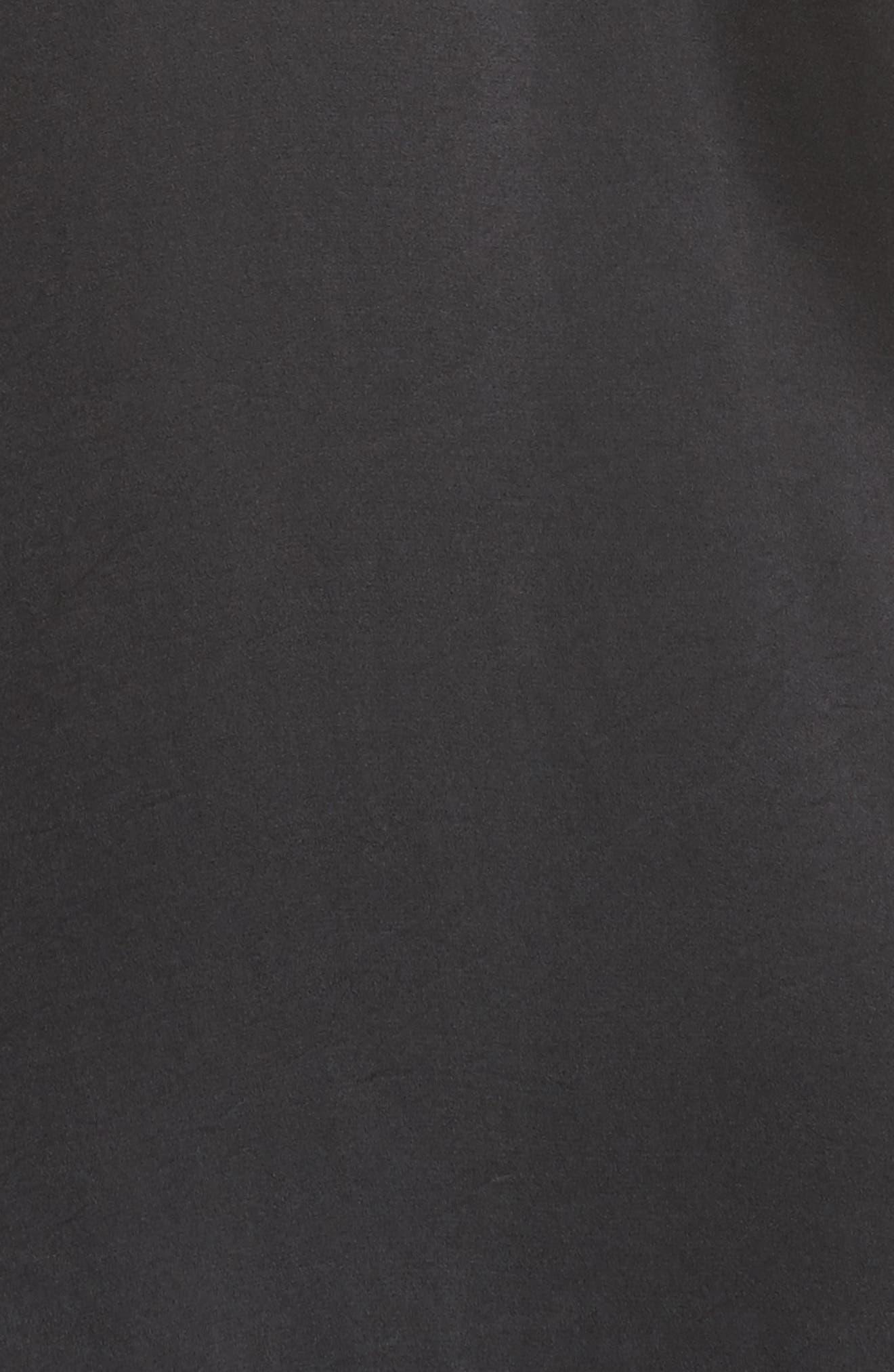 Mure Satin Midi Dress,                             Alternate thumbnail 5, color,                             Black