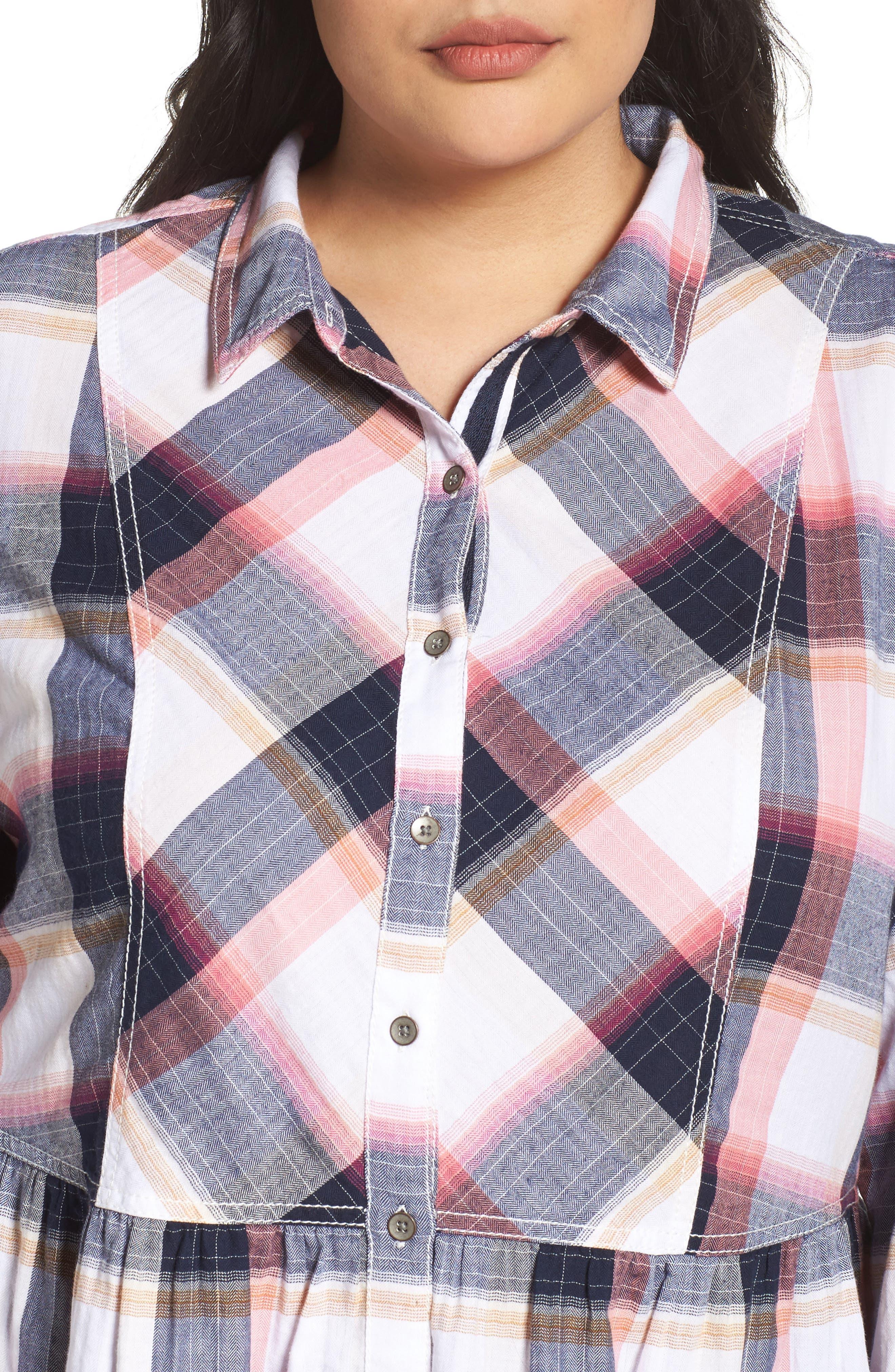 Alternate Image 4  - Caslon® Plaid Peplum Shirt (Plus Size)