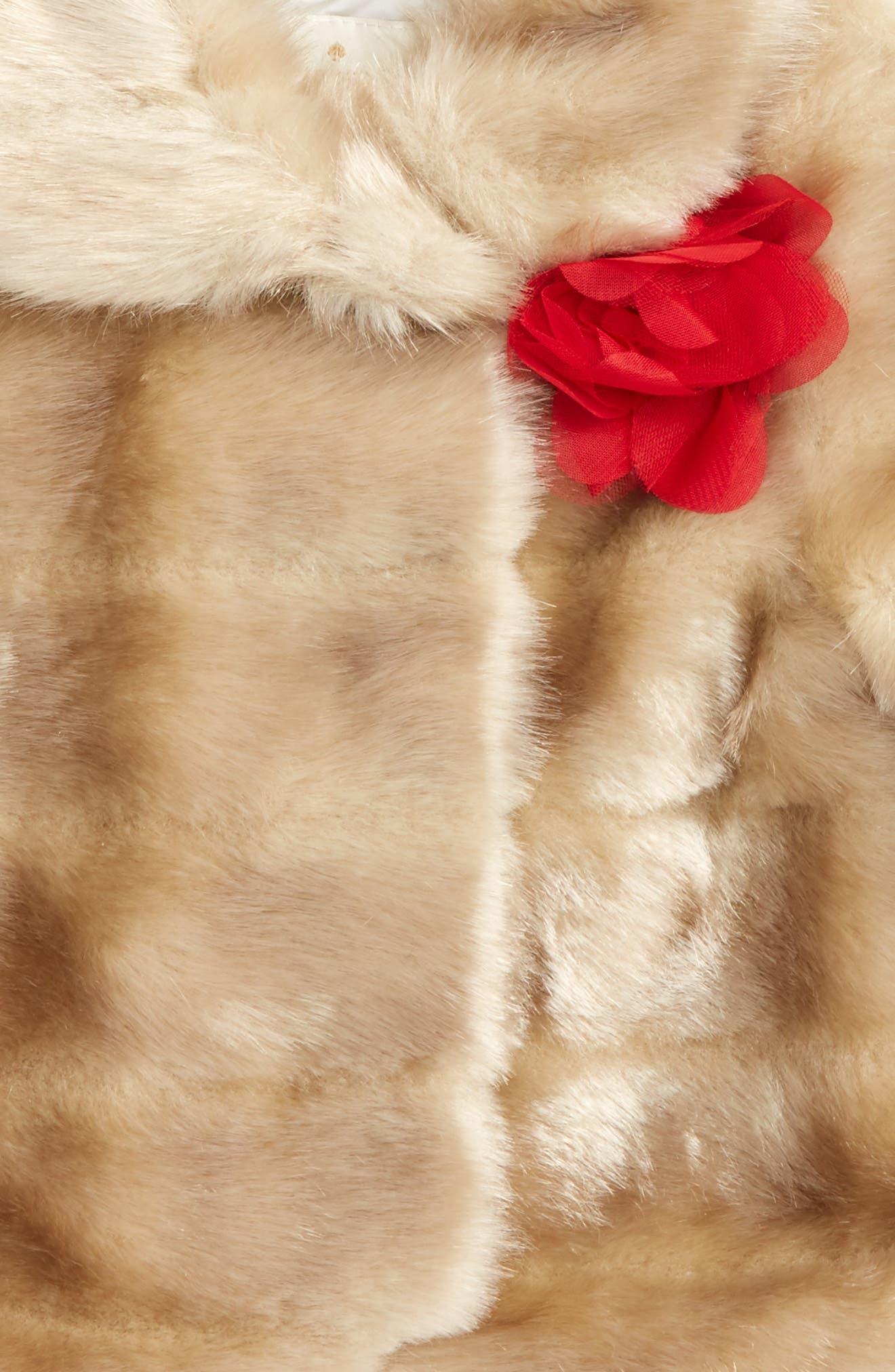 faux mink fur coat,                             Alternate thumbnail 2, color,                             Blonde