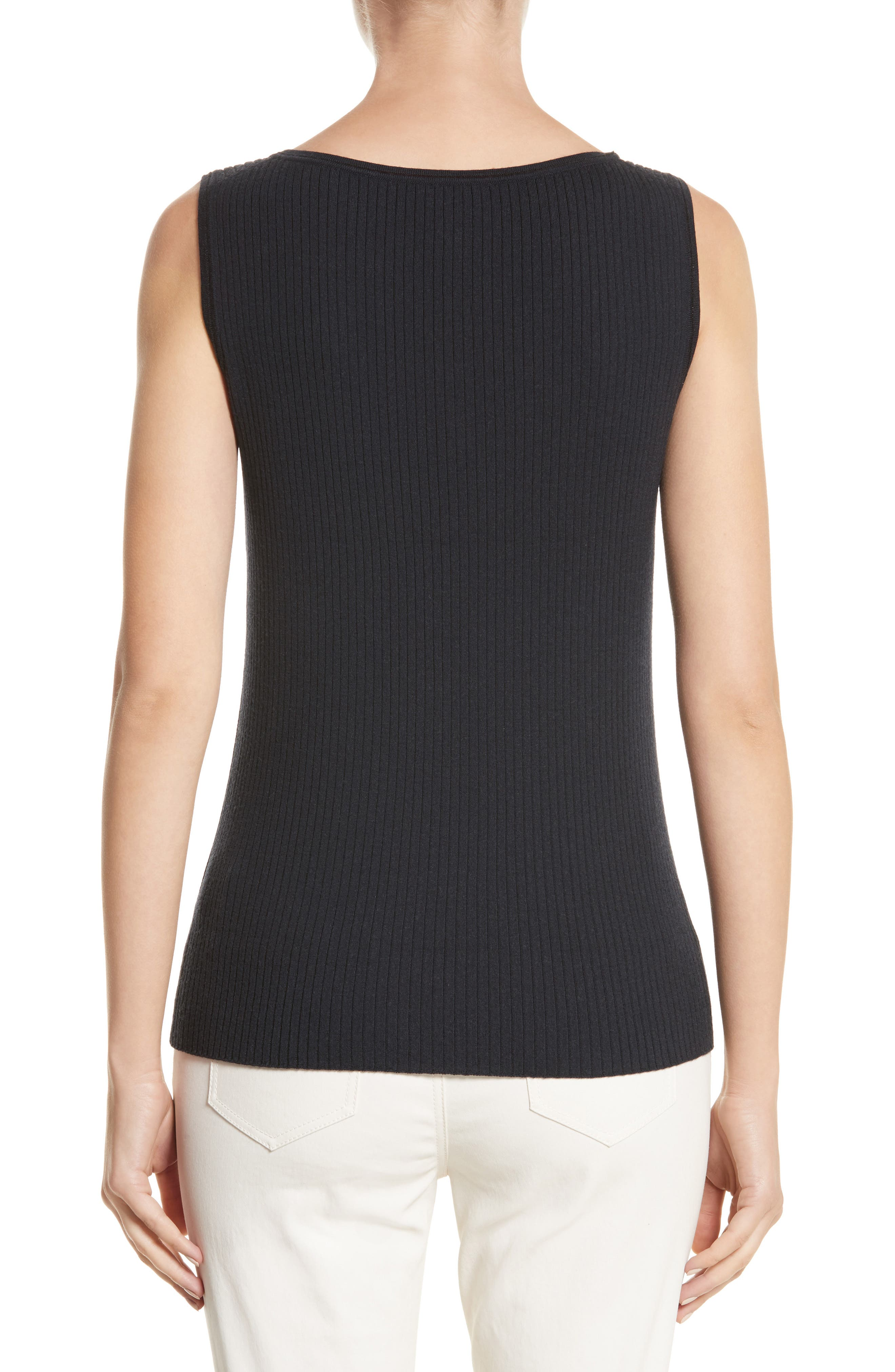 Metallic Trim Modern Ribbed Tank,                             Alternate thumbnail 2, color,                             Ink