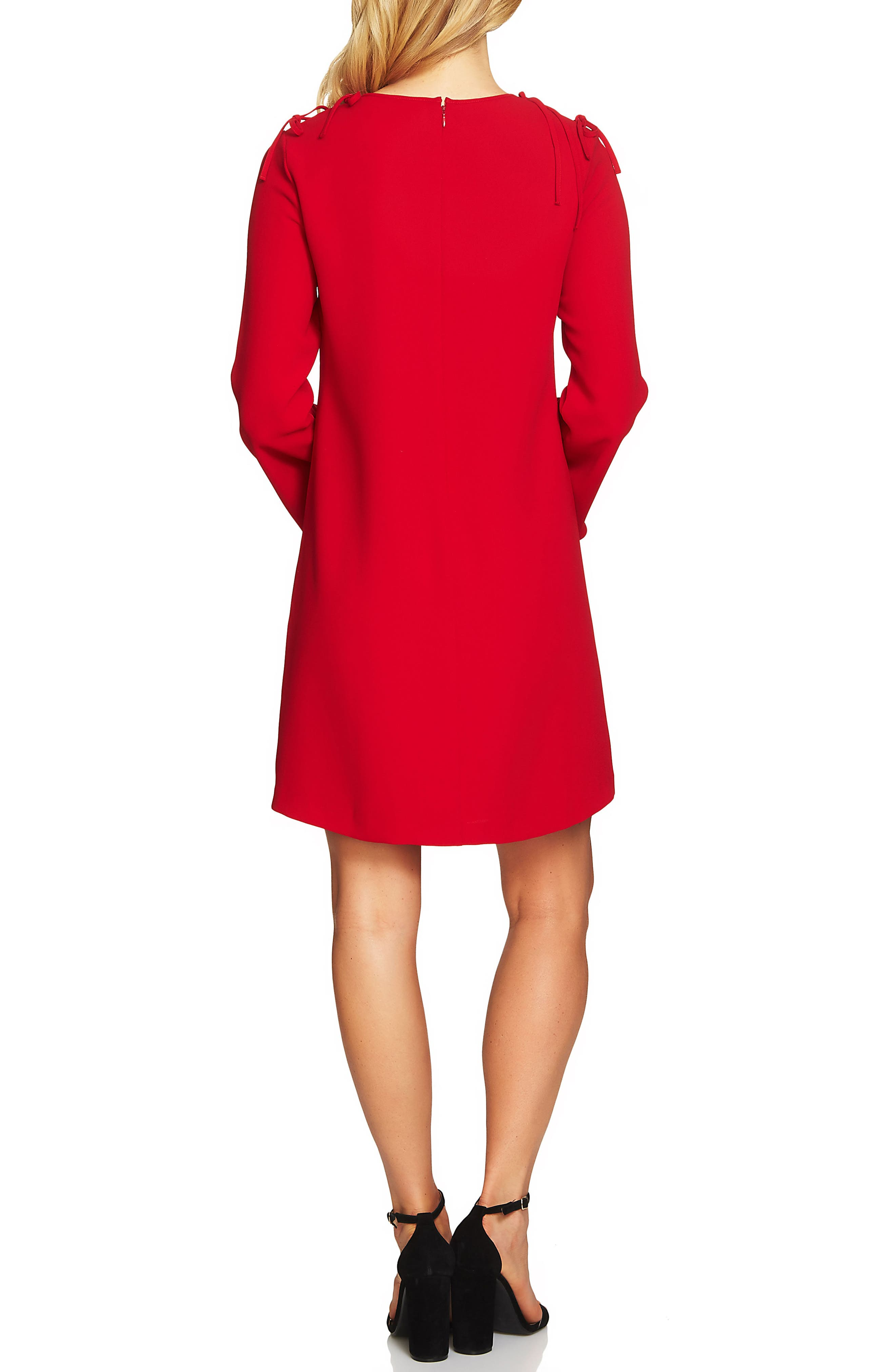Moss Tie Shoulder Bell Sleeve Shift Dress,                             Alternate thumbnail 2, color,                             Ribbon Red