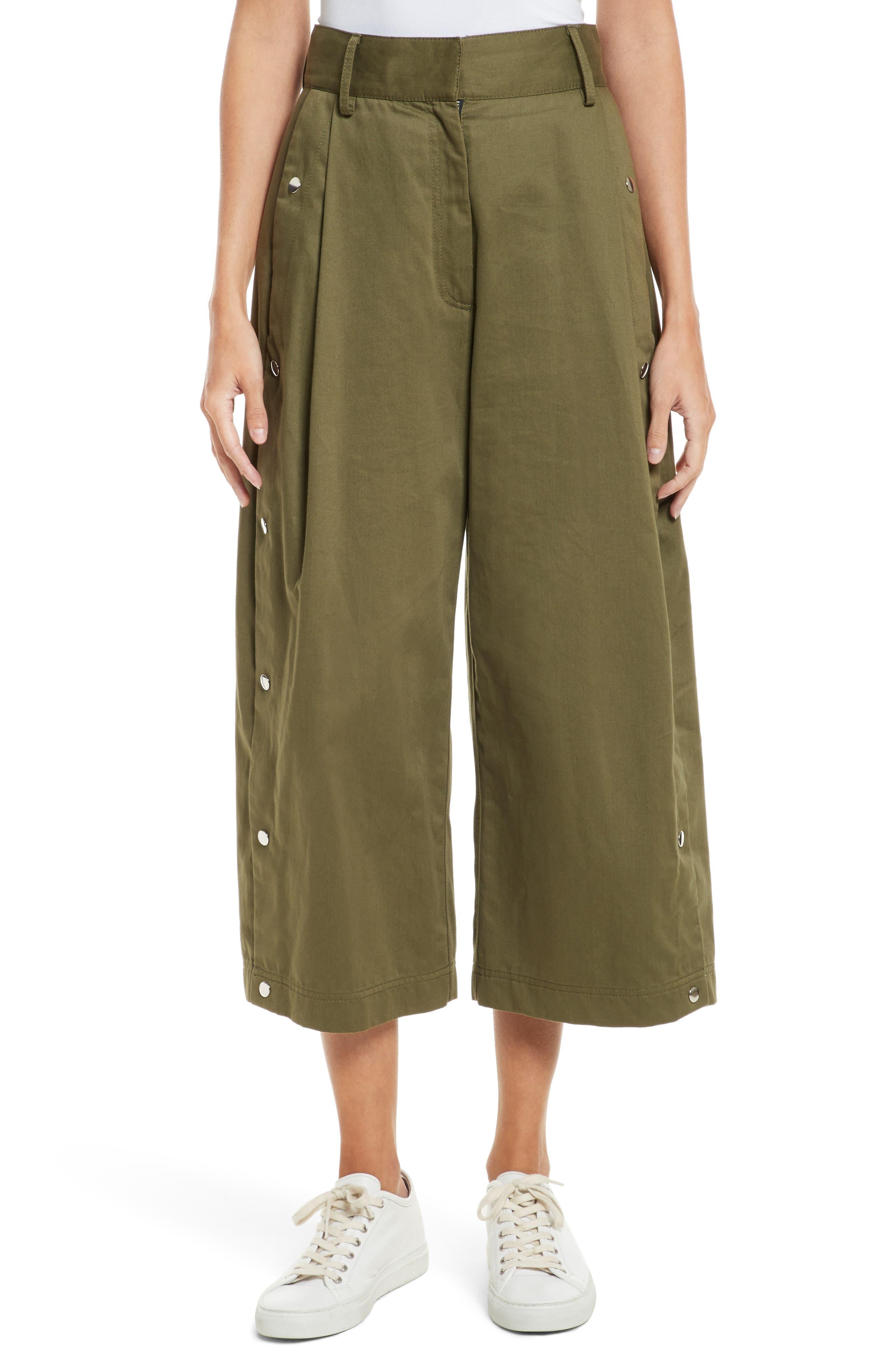 Tess Wide Leg Crop Pants,                         Main,                         color, Olive Multi