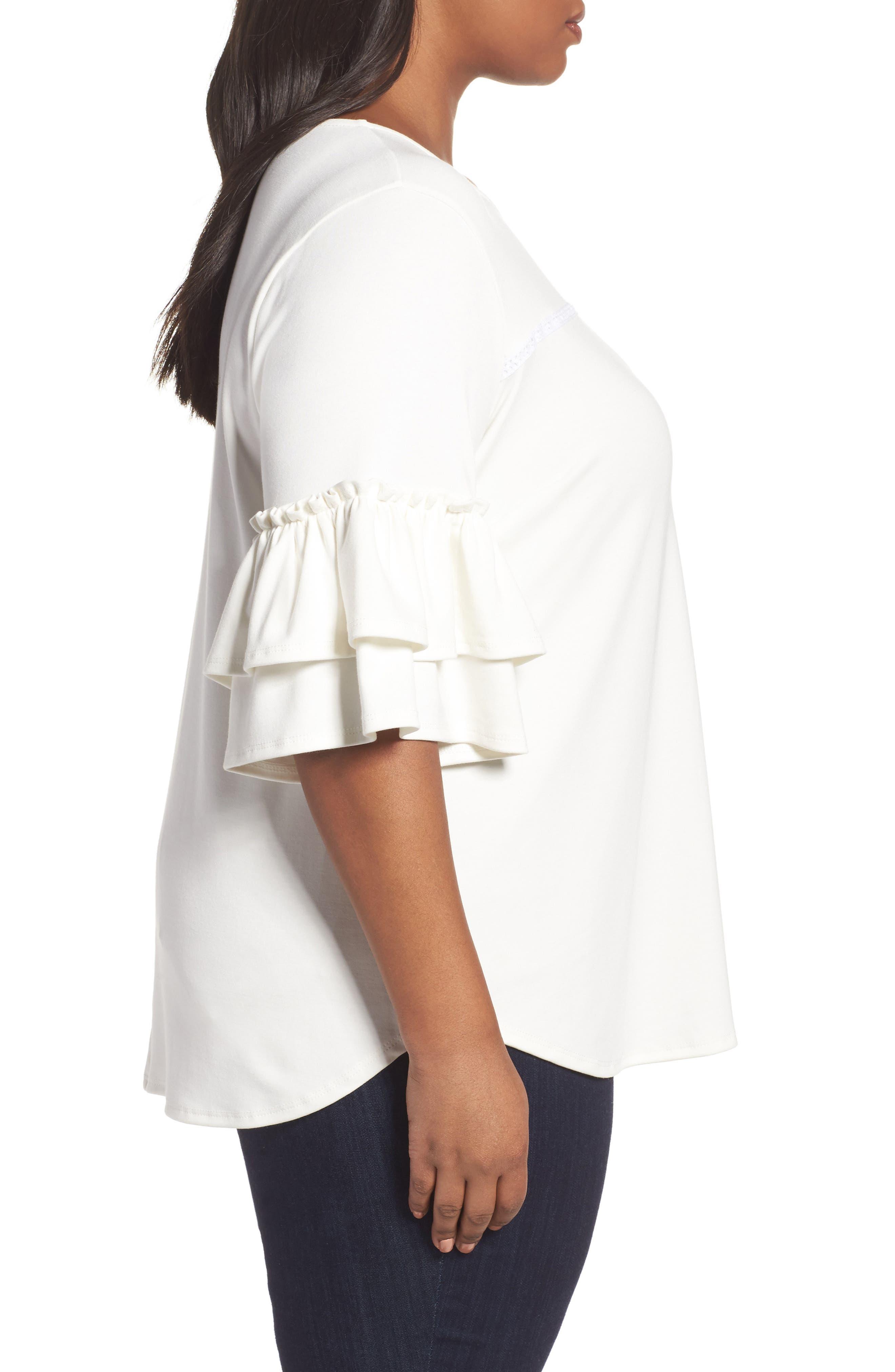 Alternate Image 3  - Sejour Double Ruffle Sleeve Top (Plus Size)