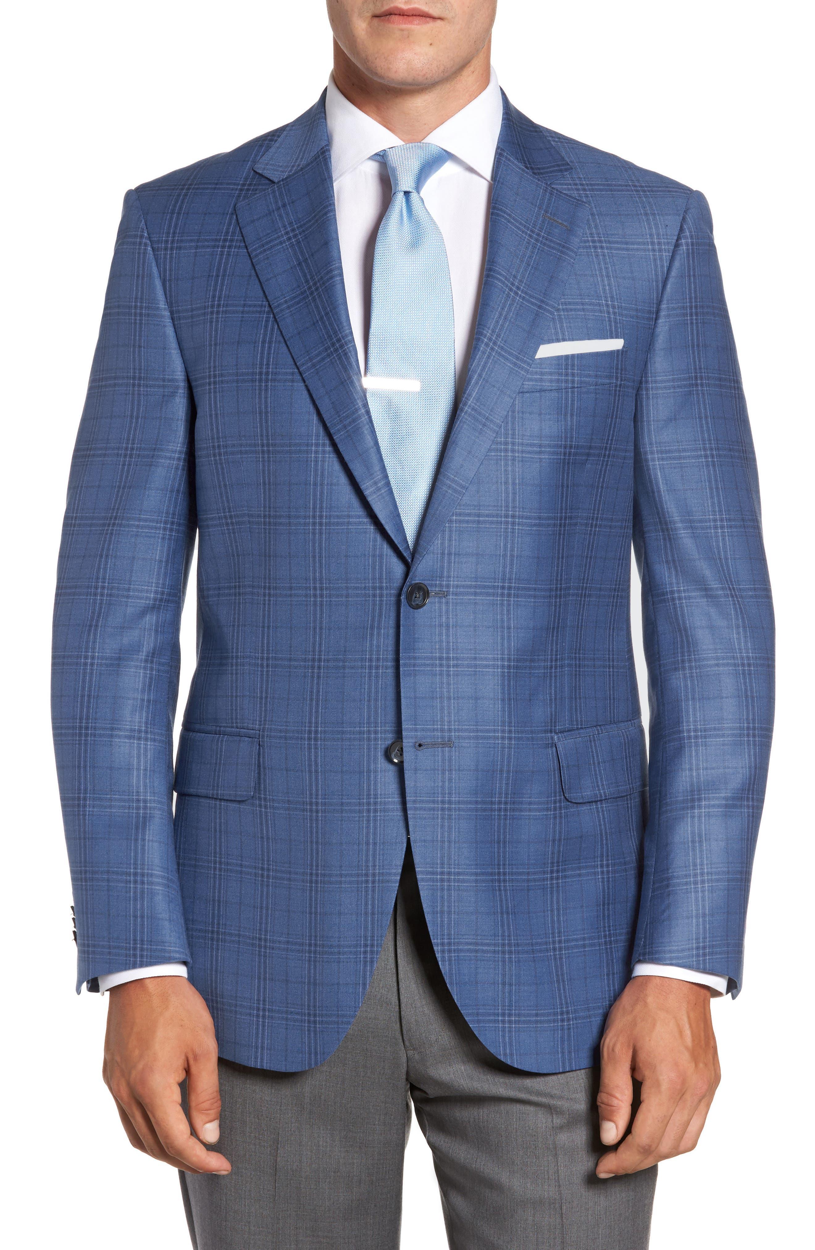 Flynn Classic Fit Plaid Wool Sport Coat,                         Main,                         color, Blue