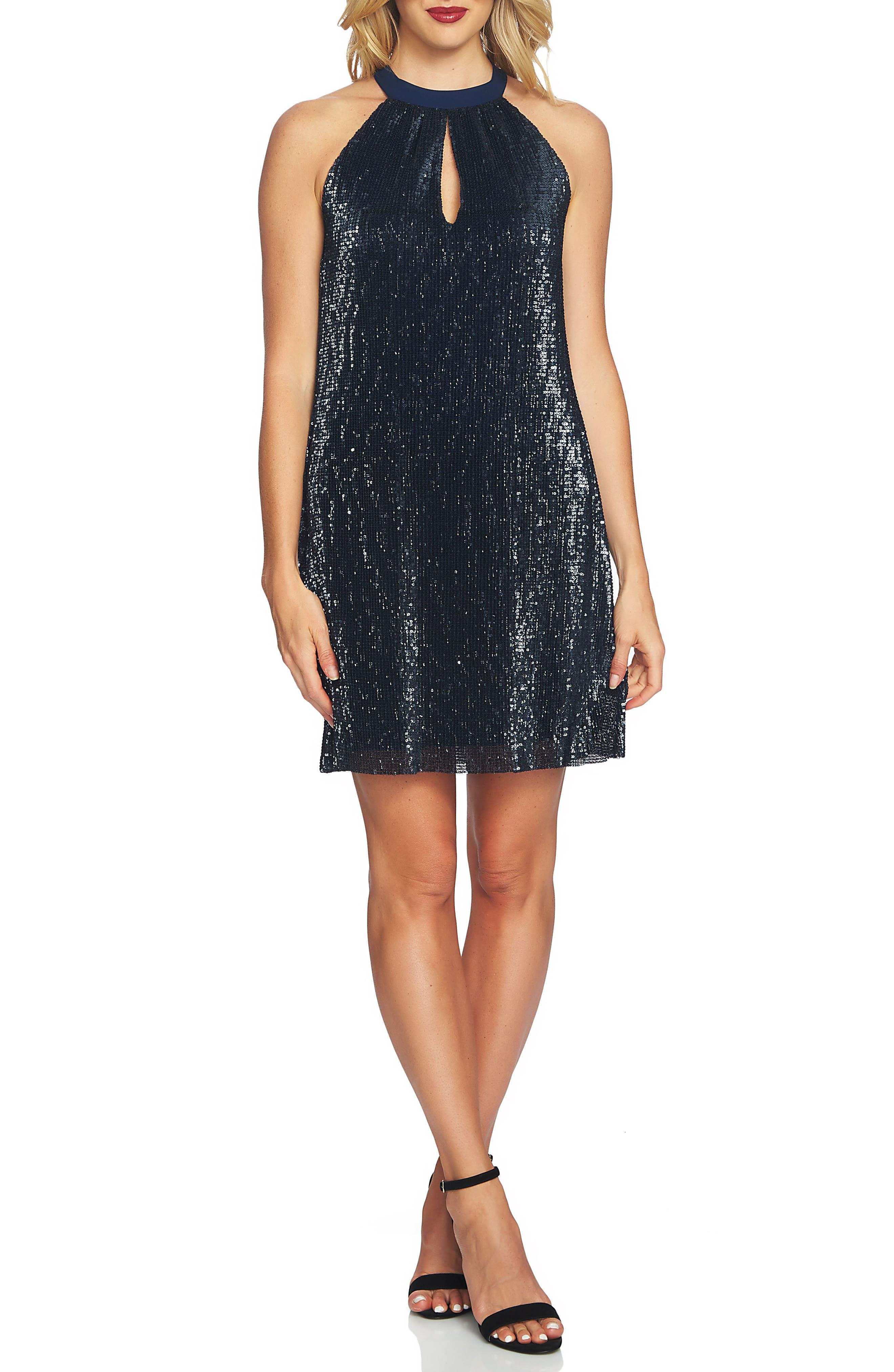 Sequin Halter Dress,                         Main,                         color, Dark Nightfall
