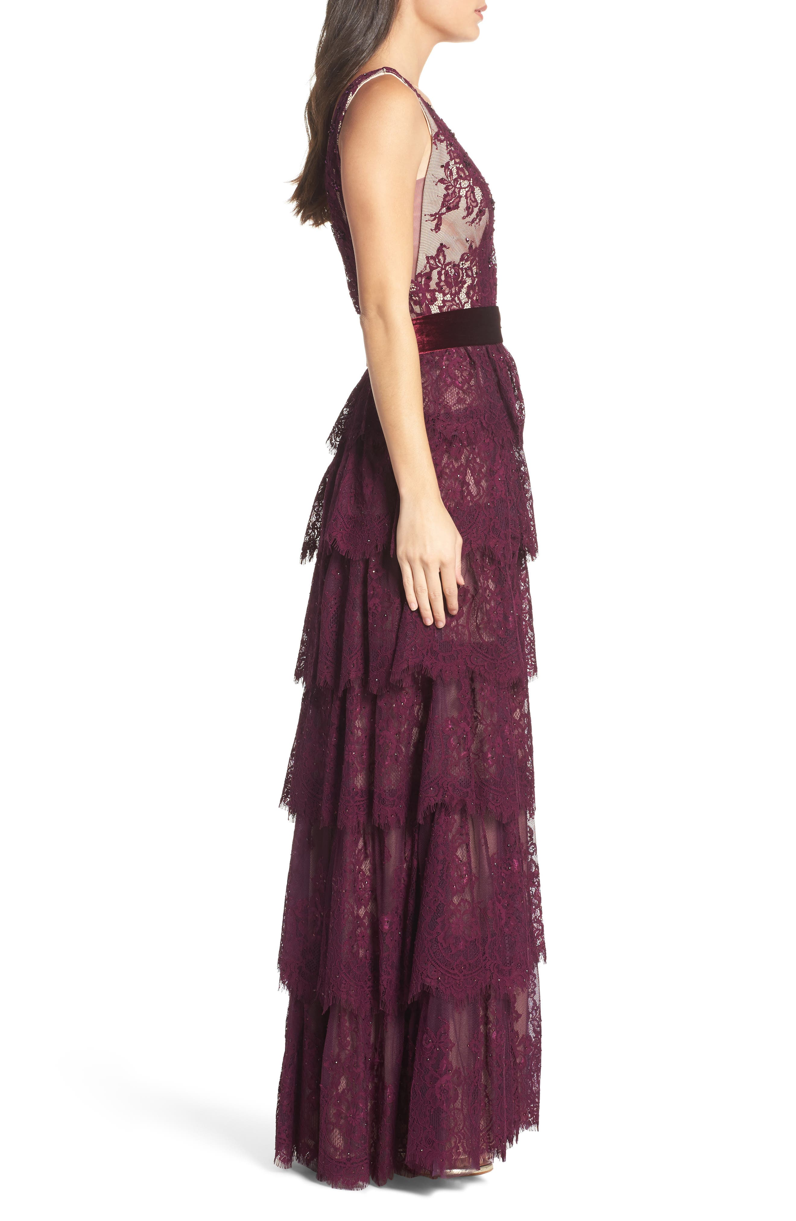 Alternate Image 3  - Mac Duggal Tiered Lace Column Gown