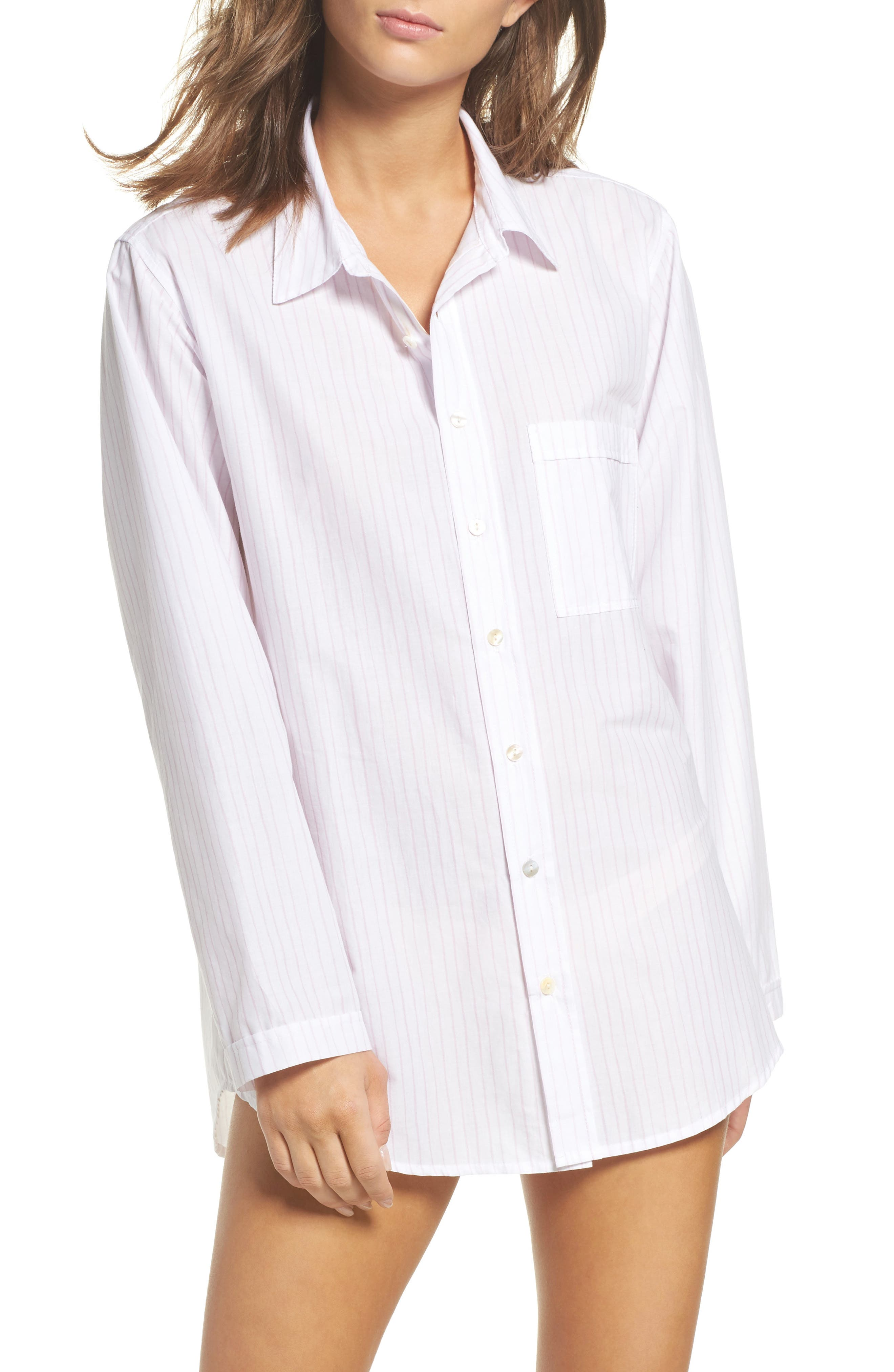 Pinstripe Boyfriend Sleep Shirt,                         Main,                         color, Pink Stripe