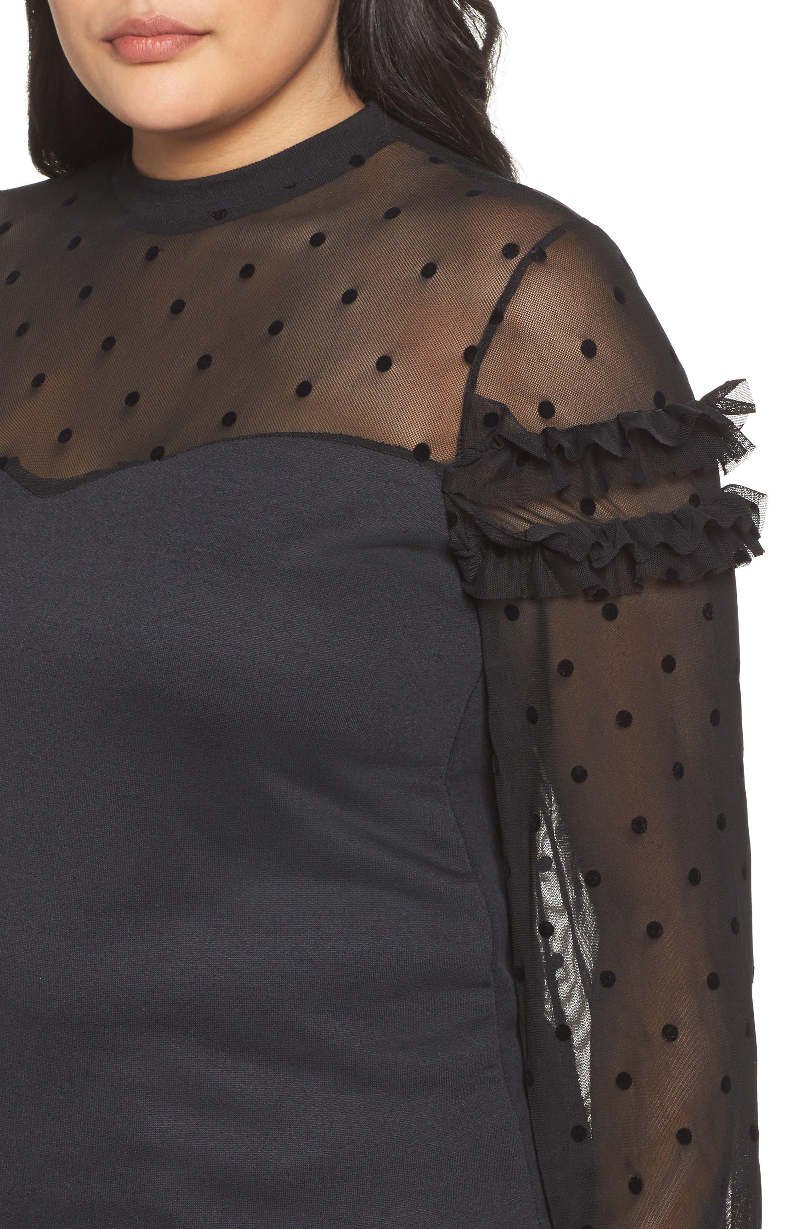Dot Mesh Sweater,                             Alternate thumbnail 4, color,                             Black