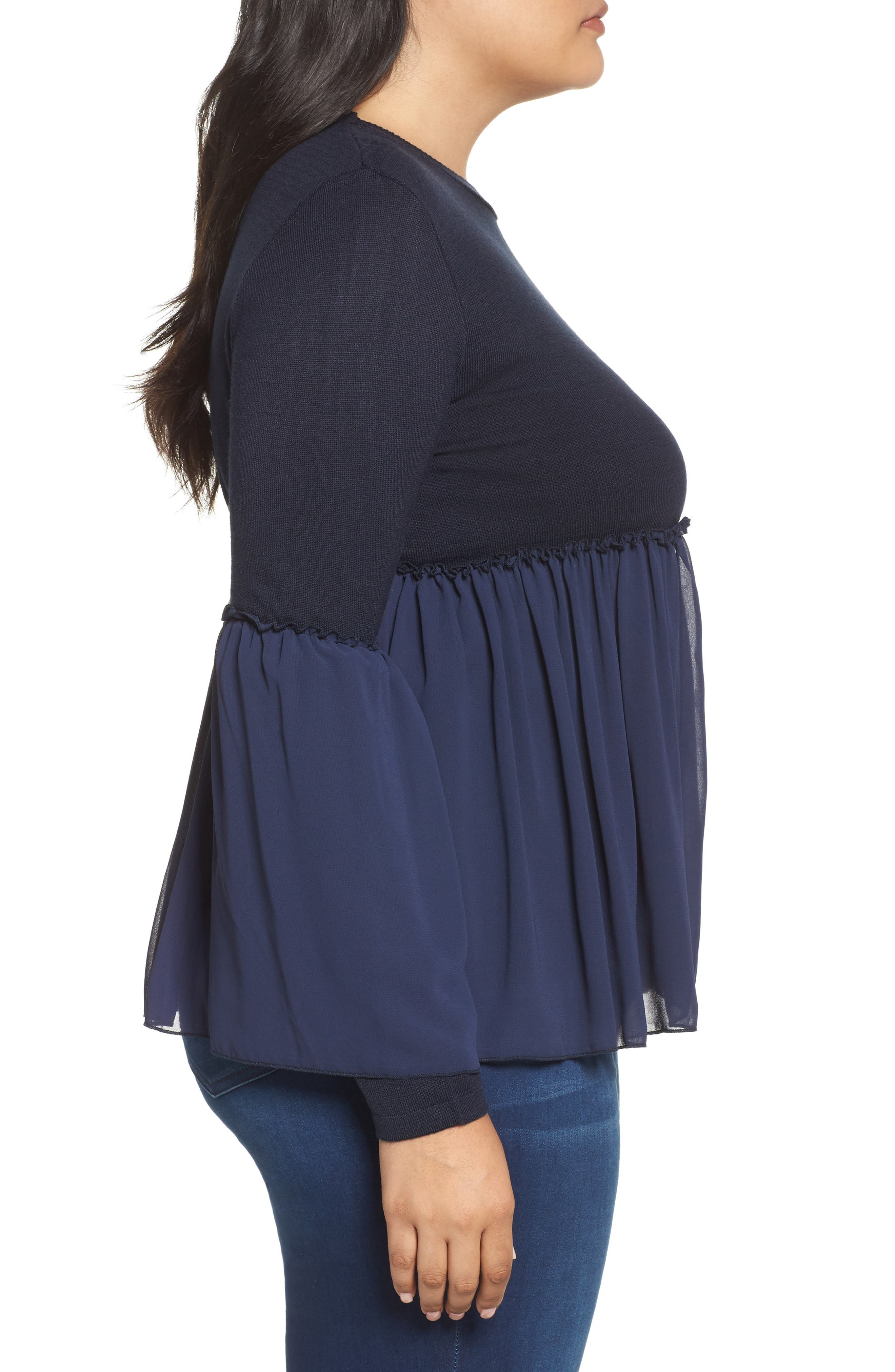 Smocked Chiffon Contrast Sweater,                             Alternate thumbnail 3, color,                             Navy