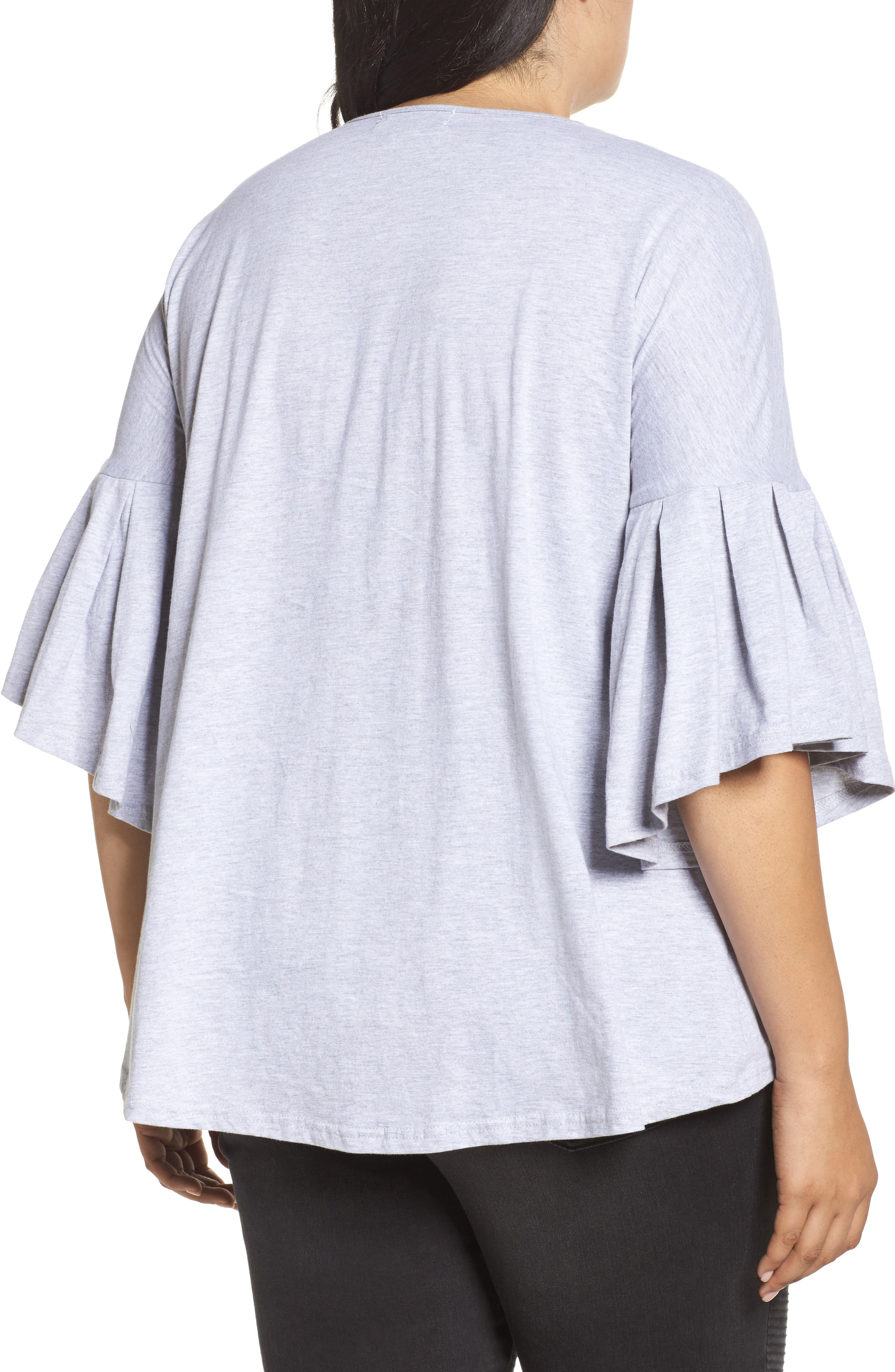 Alternate Image 2  - LOST INK Bell Sleeve Cotton Blouse (Plus Size)