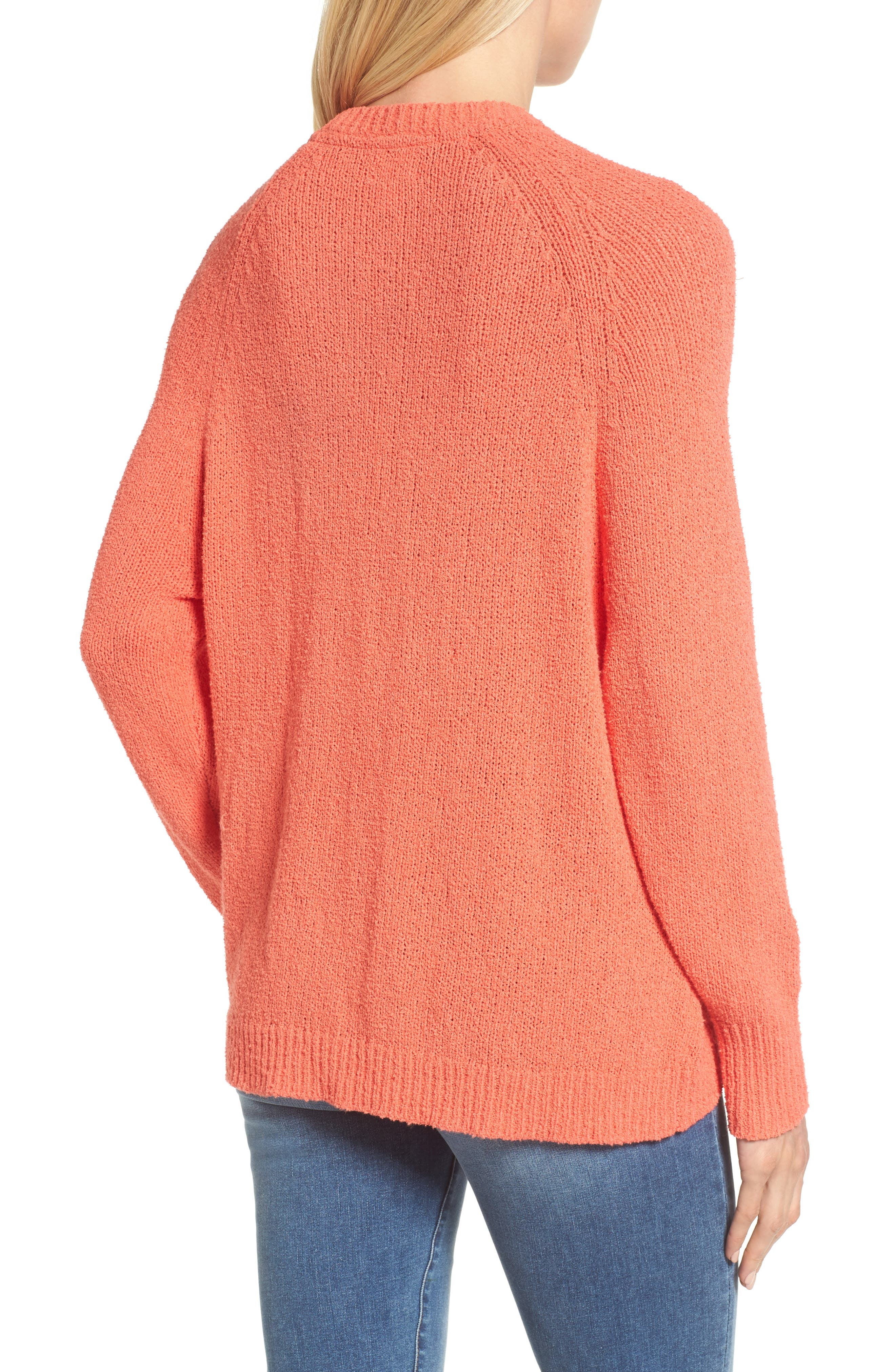 Relaxed Crewneck Sweater,                             Alternate thumbnail 2, color,                             Coral Sea