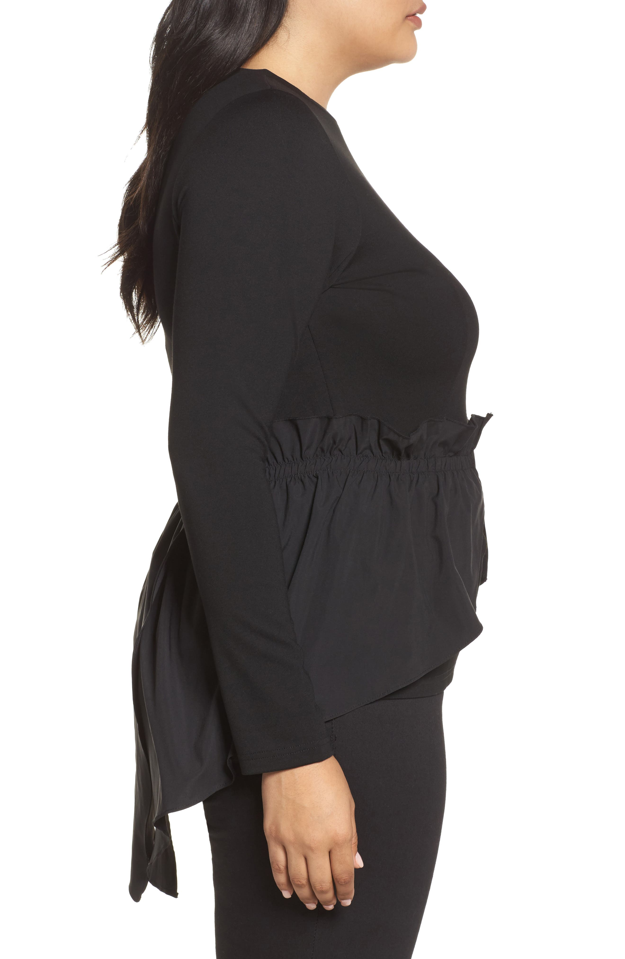 Alternate Image 3  - LOST INK Shirred Waist Top (Plus Size)