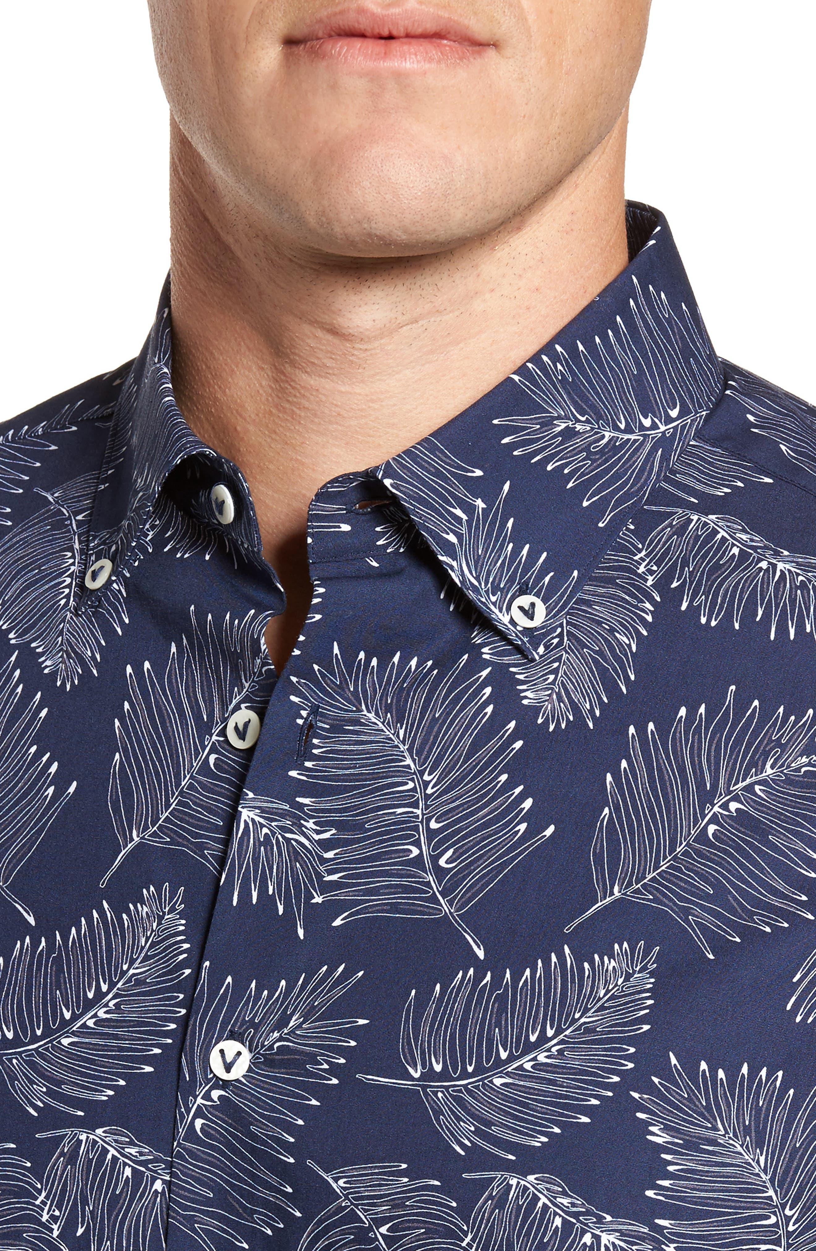 Slim Fit Palm Sport Shirt,                             Alternate thumbnail 2, color,                             V-Blue