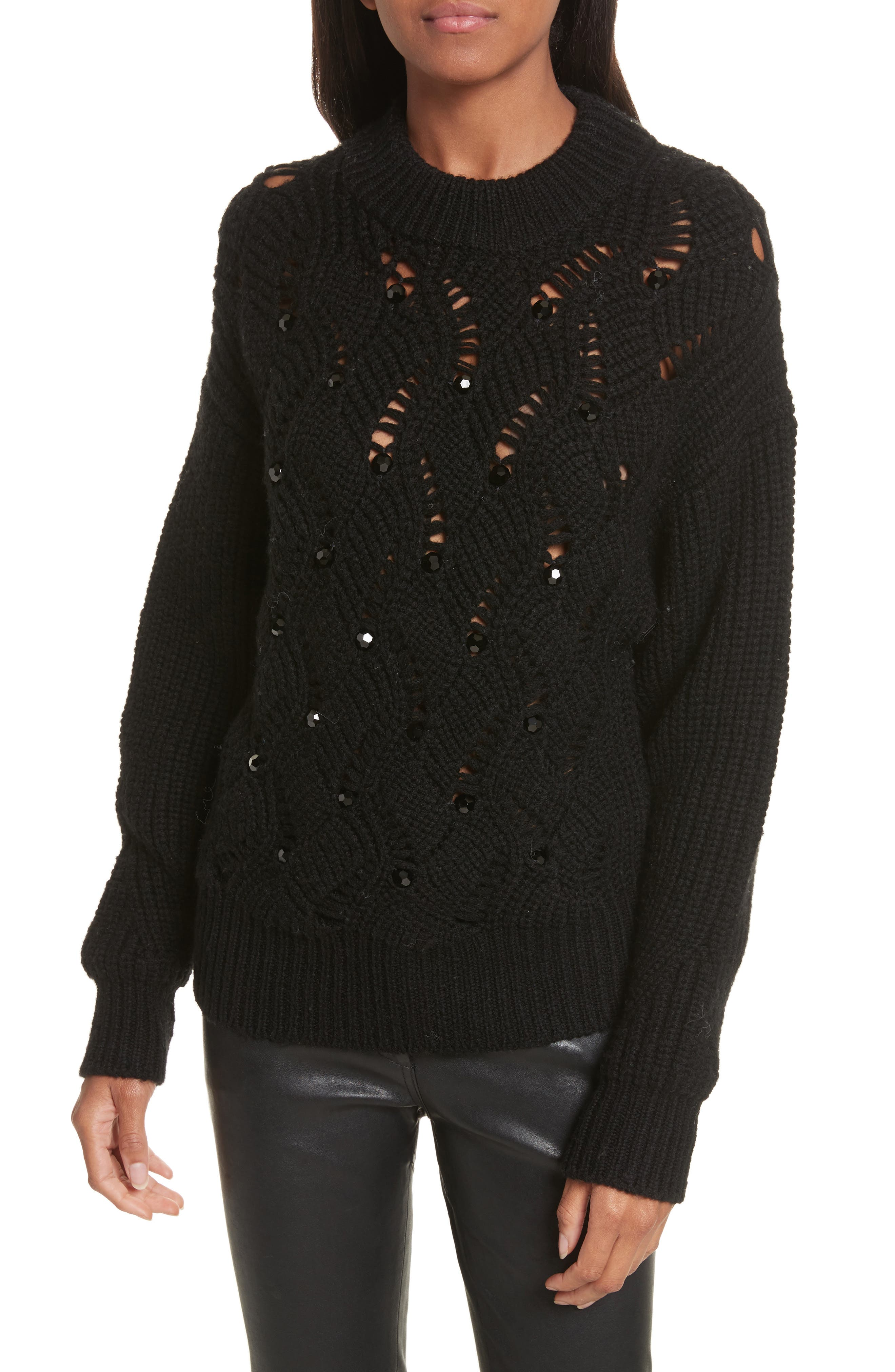 Alternate Image 1 Selected - Rebecca Taylor Embellished Wool Blend Sweater