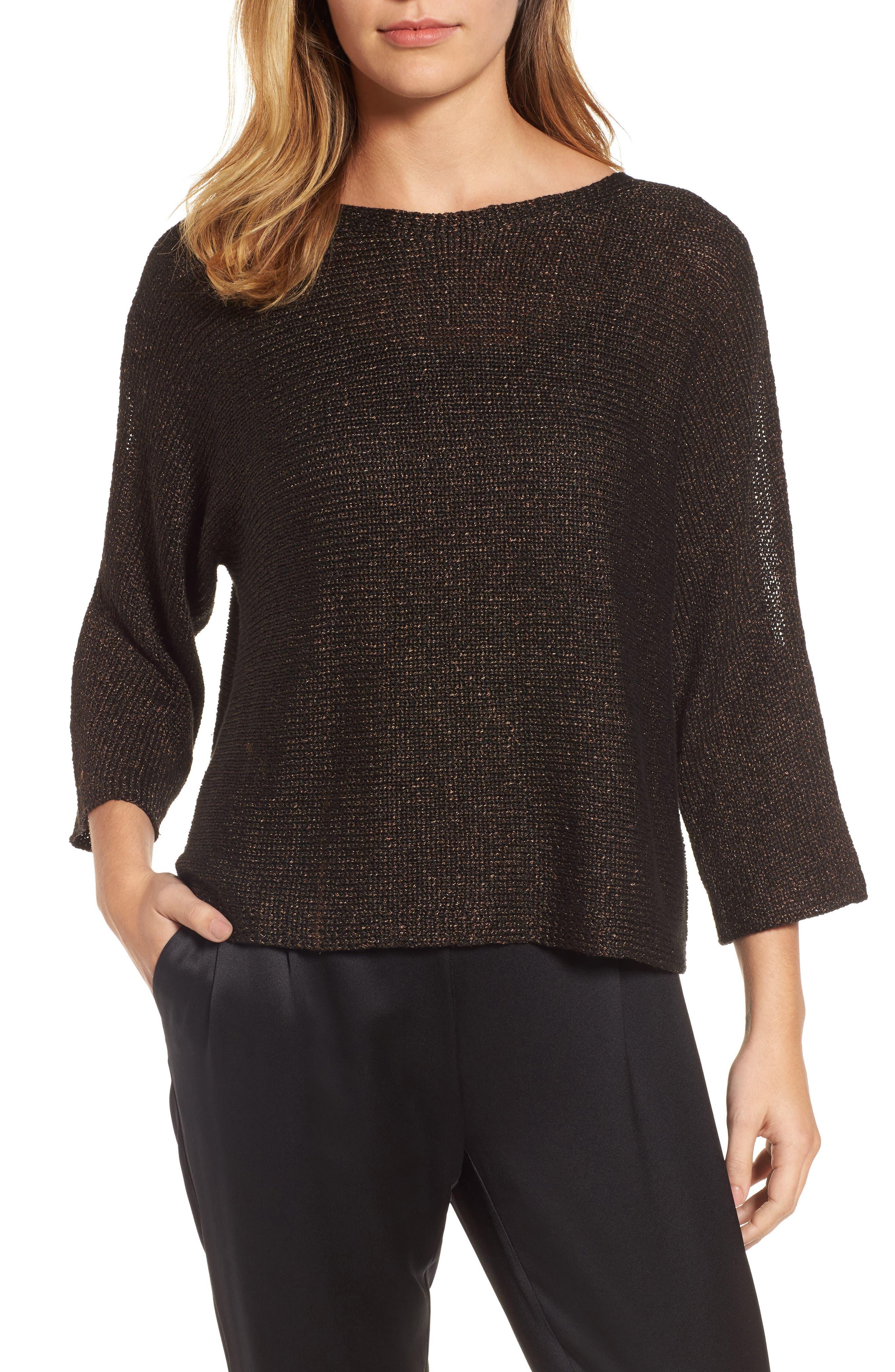 Metallic Organic Linen Blend Sweater,                         Main,                         color, Bronze