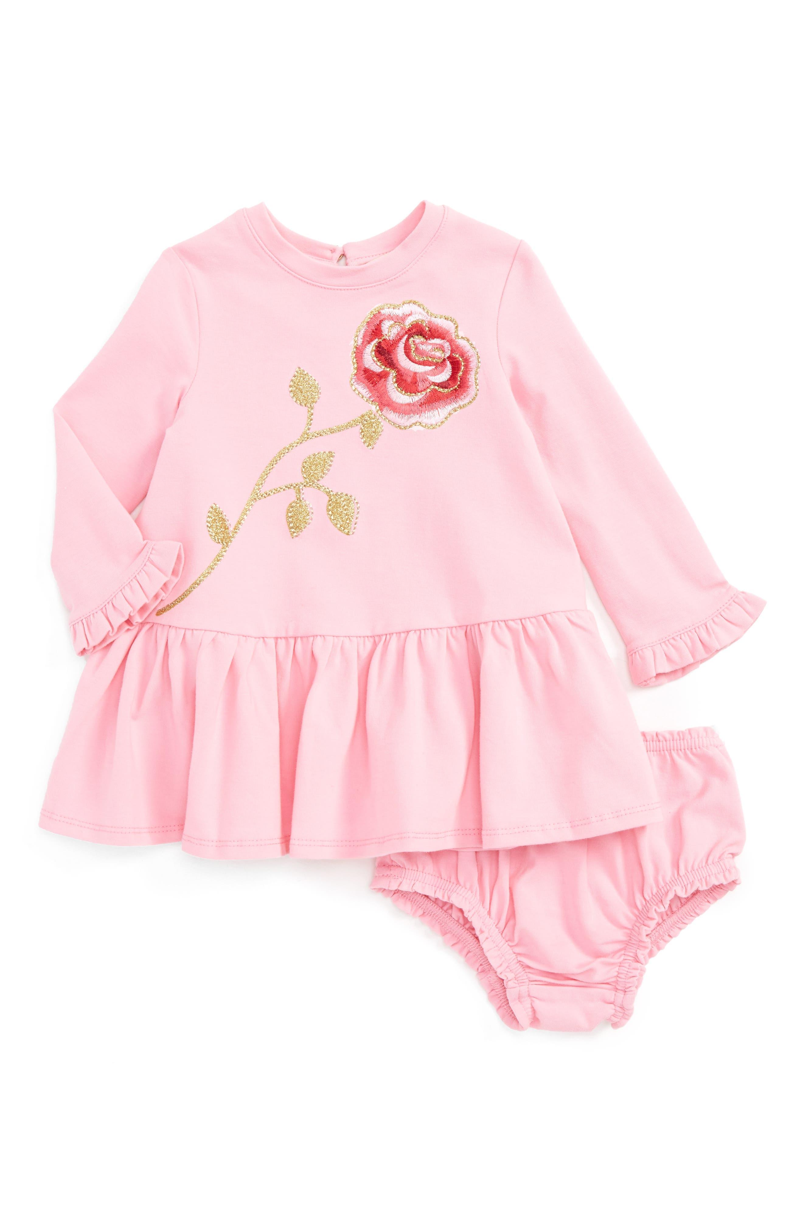 Main Image - kate spade new york rose sweatshirt dress (Baby Girls)