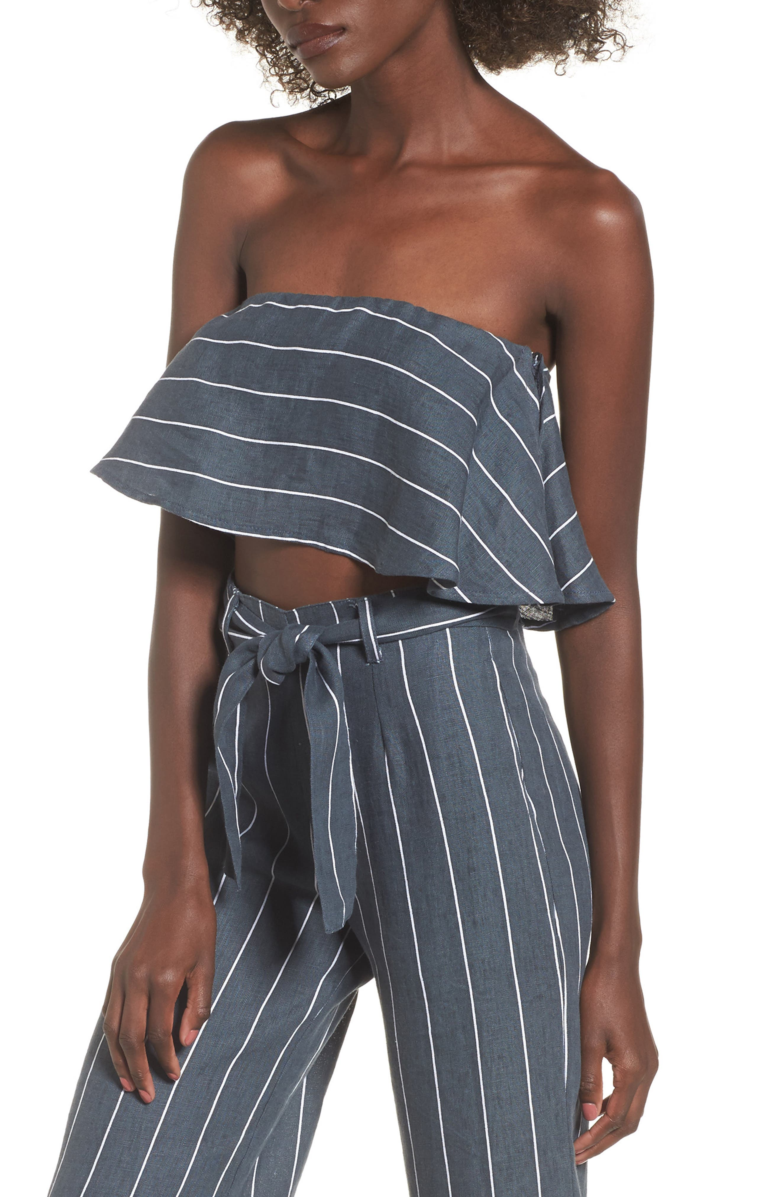 Solana Strapless Linen Crop Top,                         Main,                         color, Charcoal