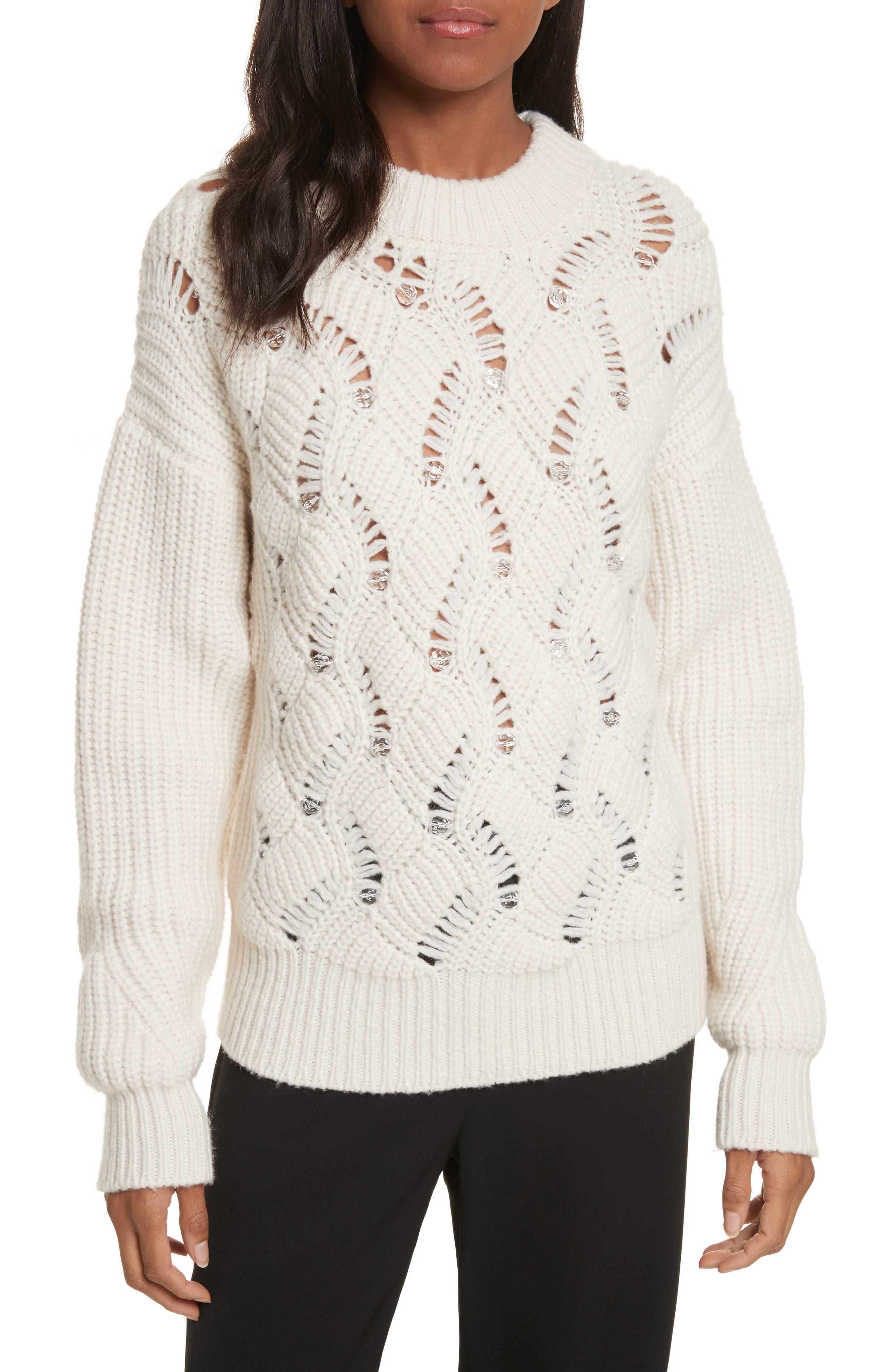 Rebecca Taylor Embellished Wool Blend Sweater