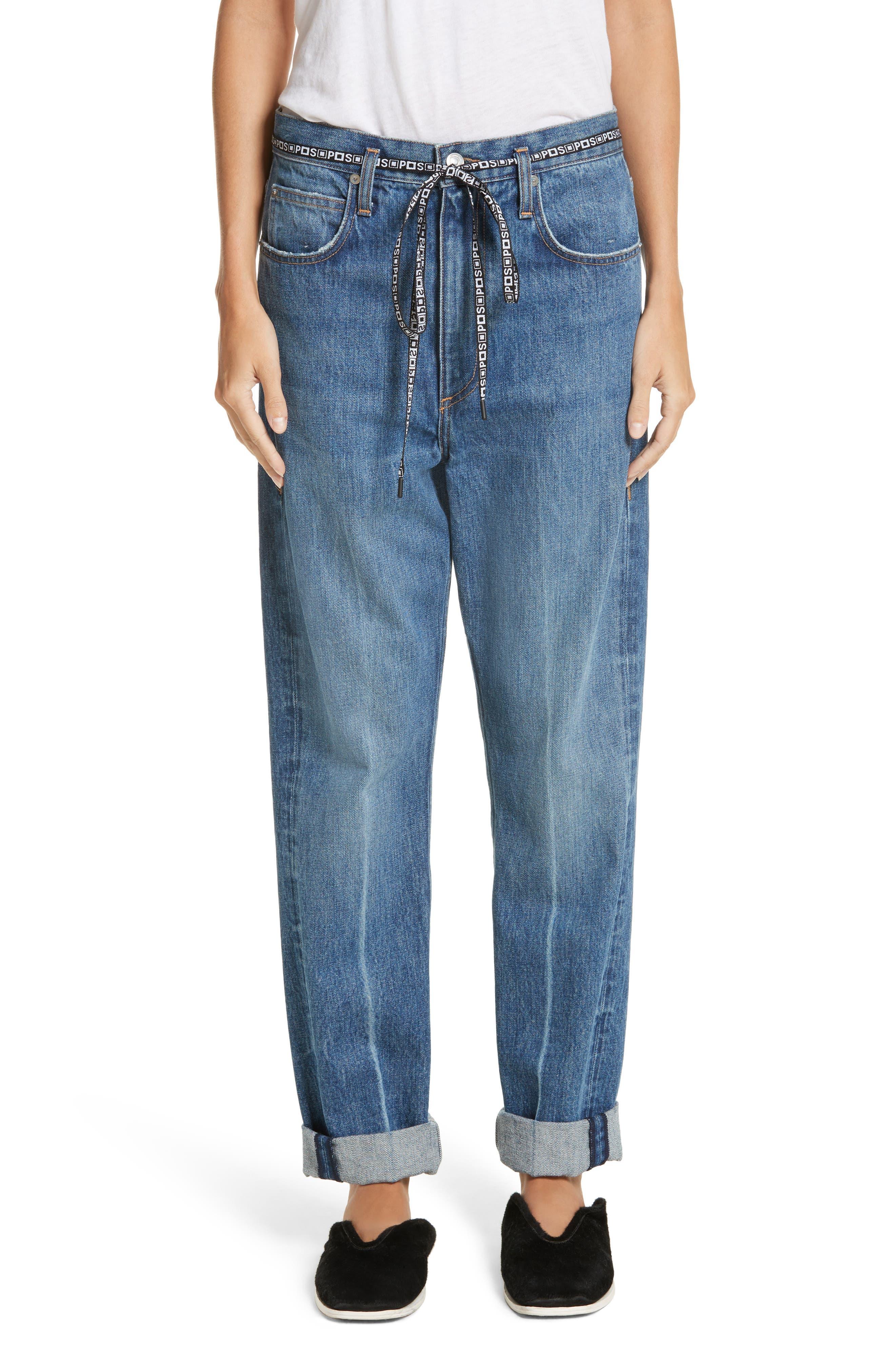 PSWL Cuffed Straight Leg Jeans,                             Main thumbnail 1, color,                             Medium Blue