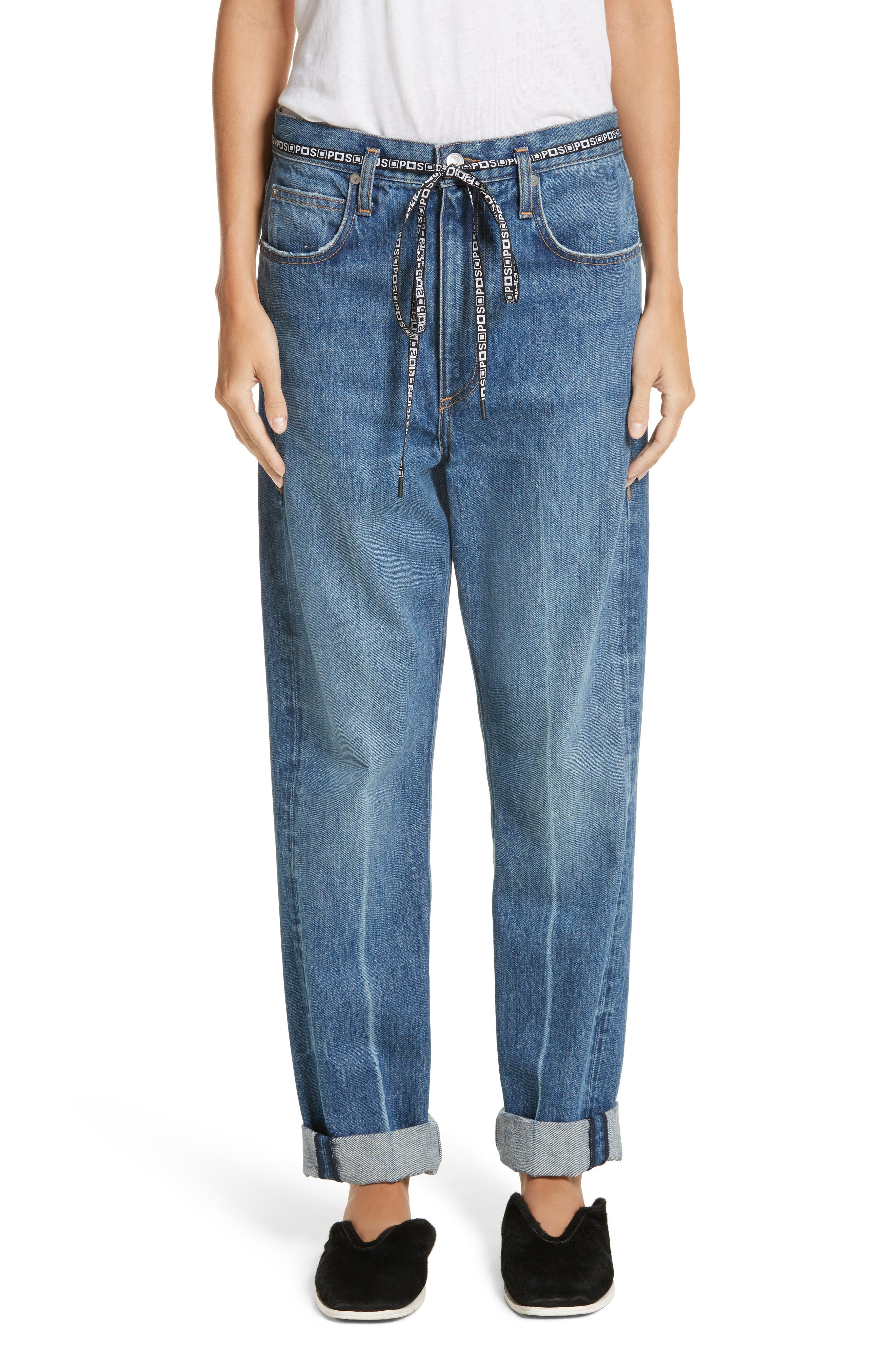 PSWL Cuffed Straight Leg Jeans,                         Main,                         color, Medium Blue