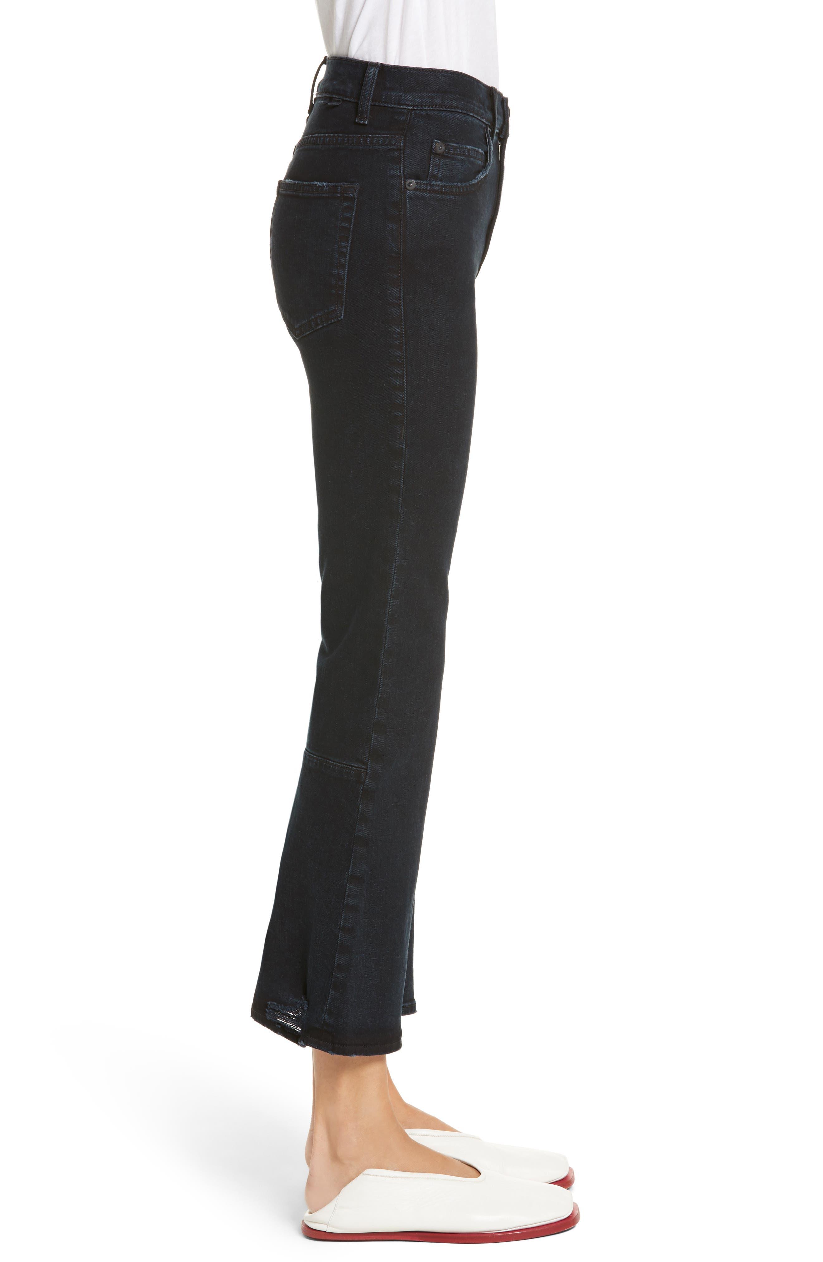 PSWL Crop Kick Flare Jeans,                             Alternate thumbnail 3, color,                             Stone Washed Black