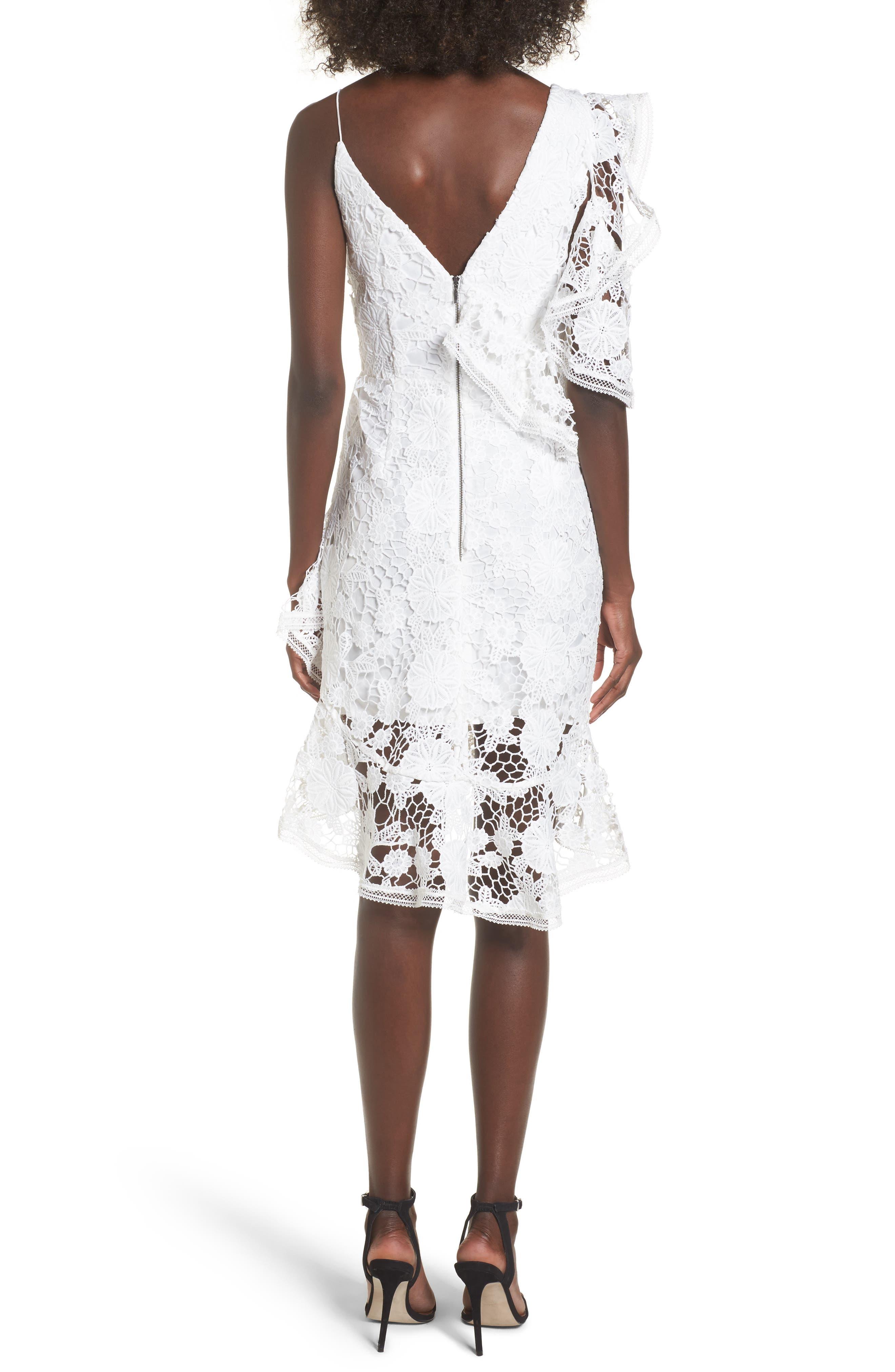Frameless Lace Sheath Dress,                             Alternate thumbnail 3, color,                             Ivory