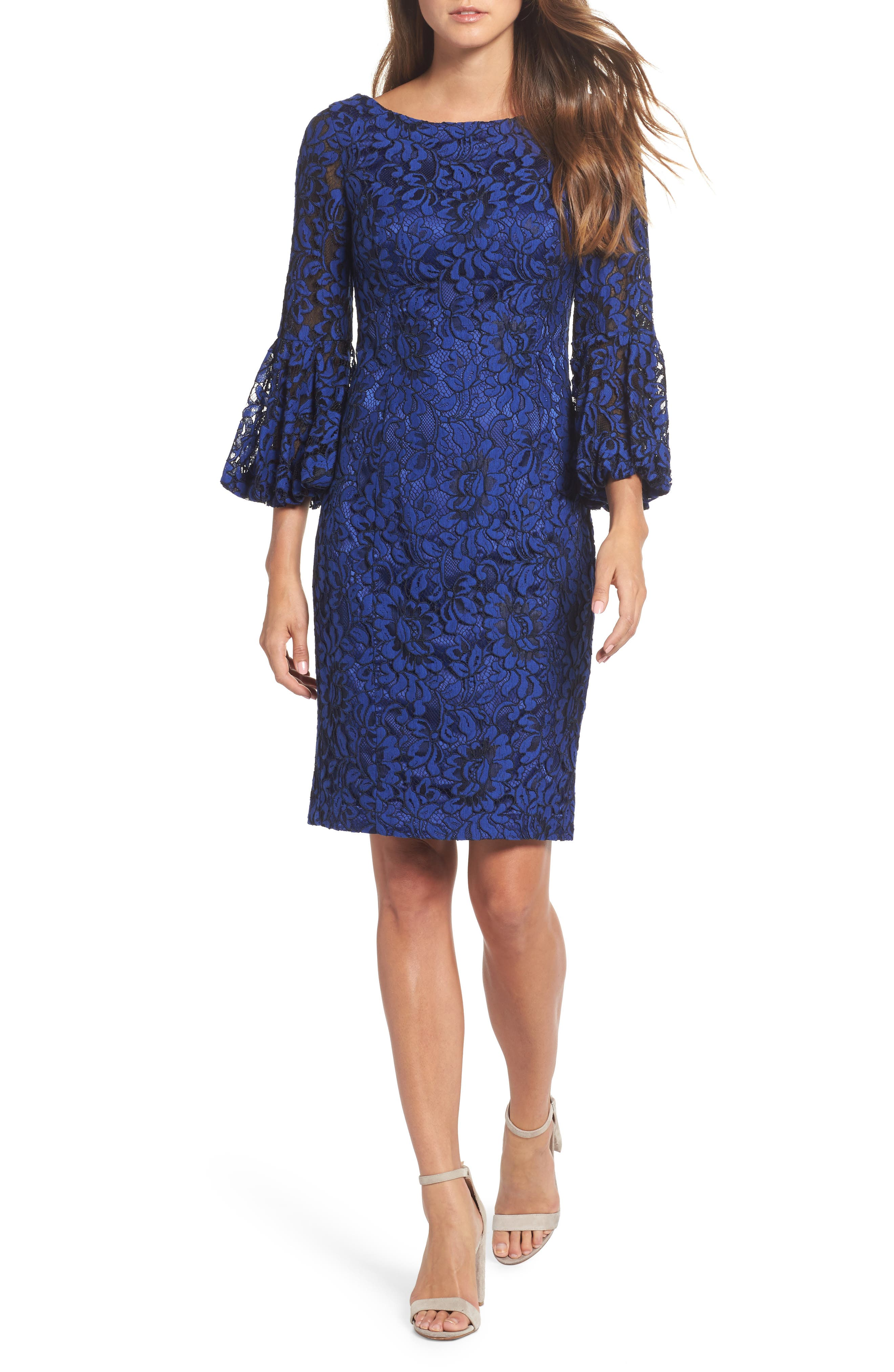 Bell Sleeve Lace Sheath Dress,                         Main,                         color, Cobalt