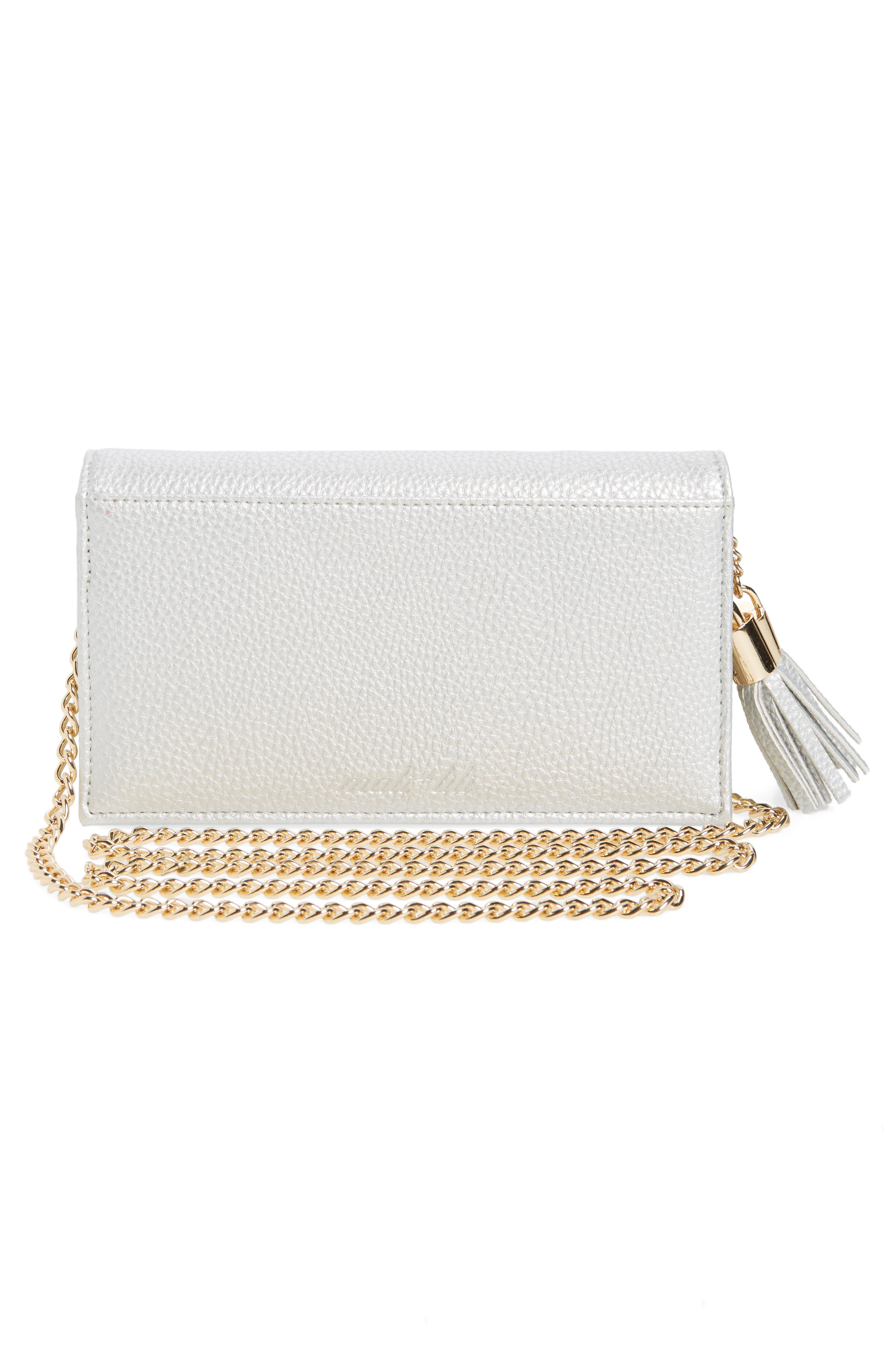 Mali + Lili Tassel Convertible Vegan Leather Clutch,                             Alternate thumbnail 3, color,                             Silver