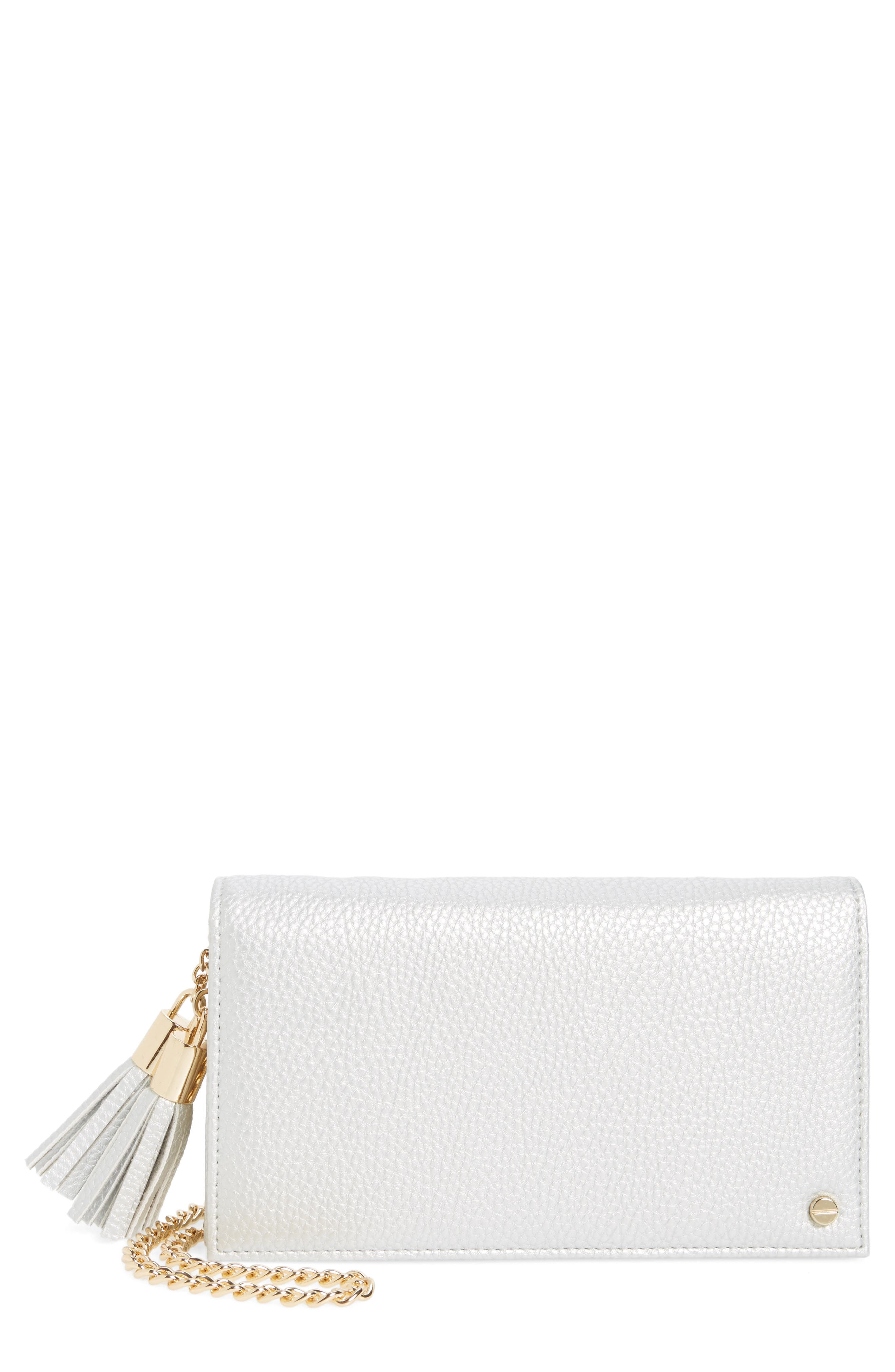Mali + Lili Tassel Convertible Vegan Leather Clutch,                             Main thumbnail 1, color,                             Silver