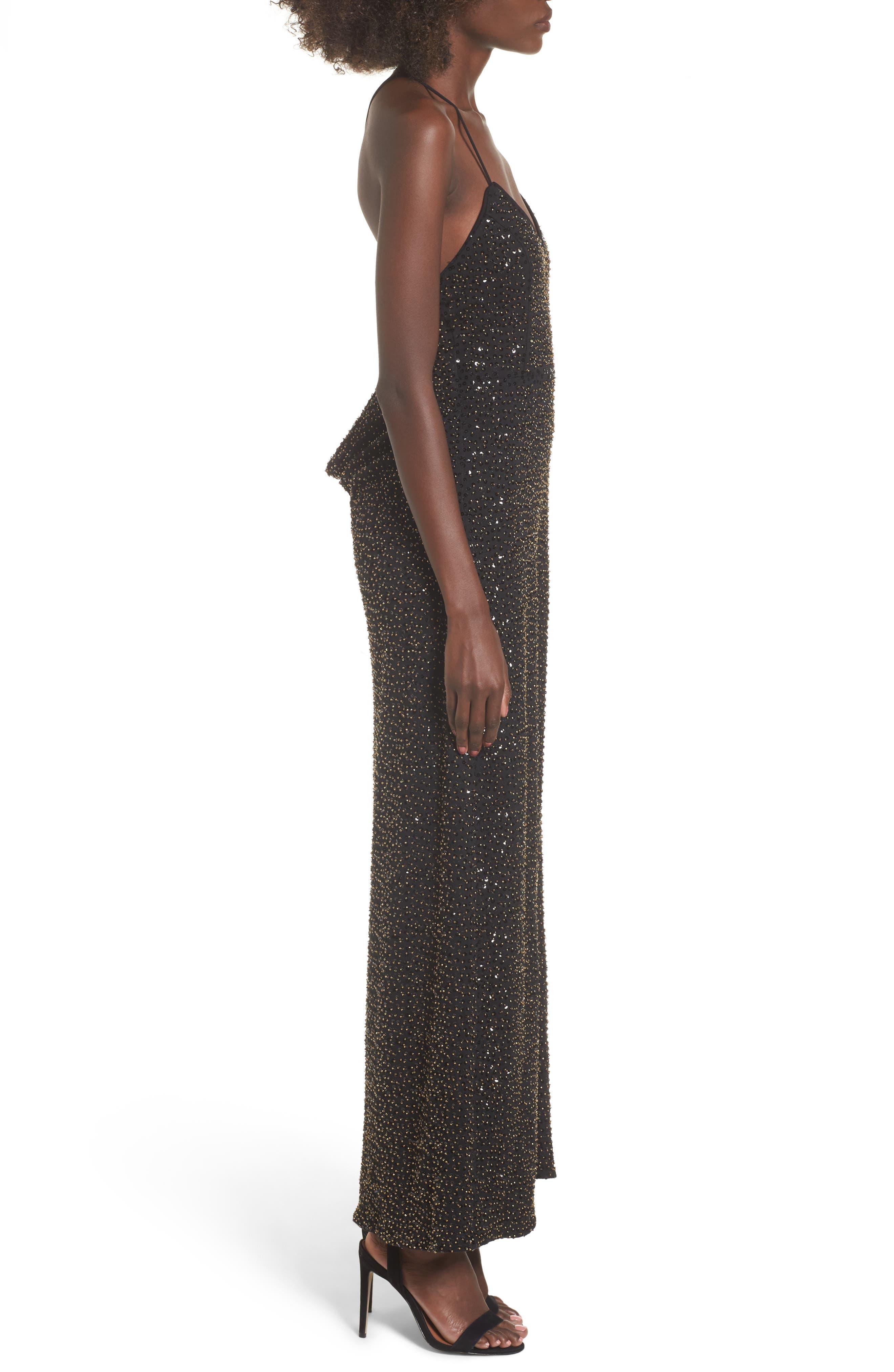 Gracen Maxi Dress,                             Alternate thumbnail 3, color,                             Black/ Brass
