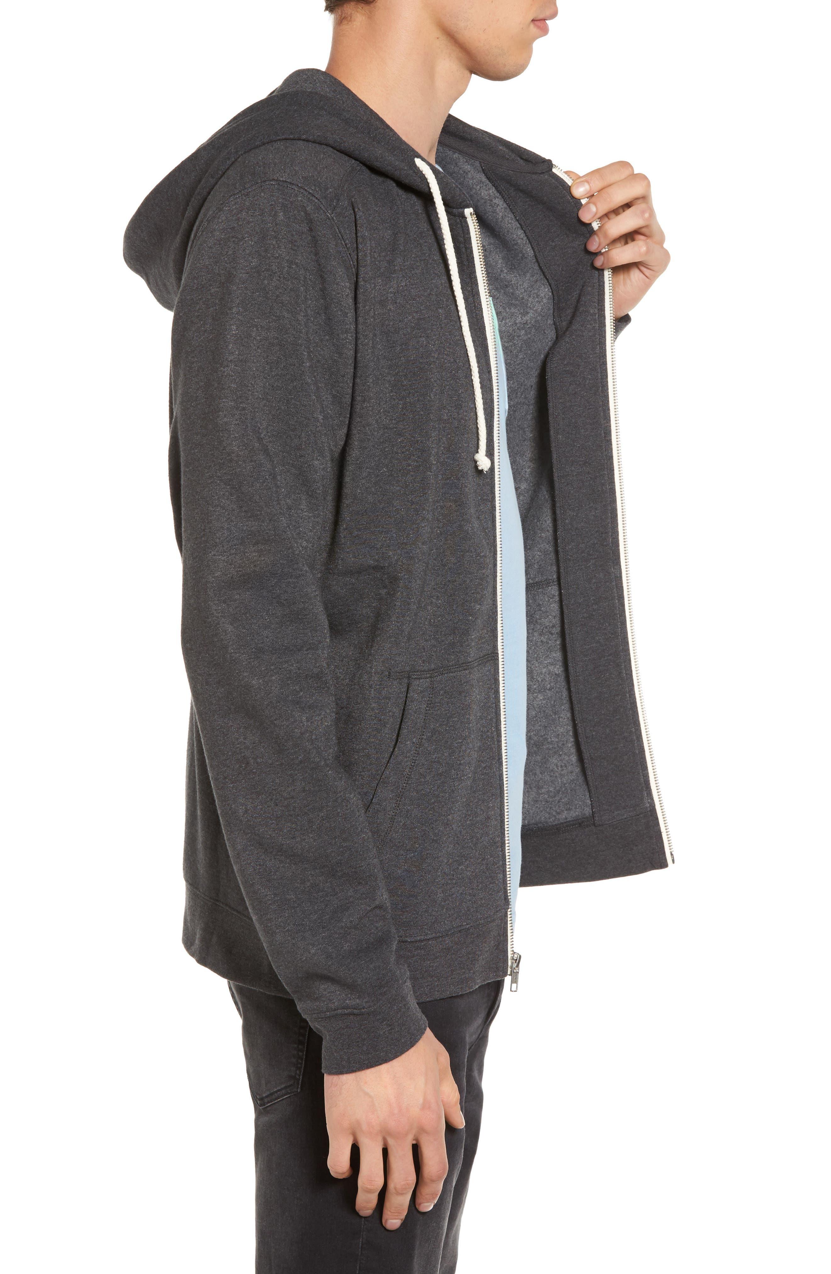 Fleece Zip Hoodie,                             Alternate thumbnail 3, color,                             Grey Charcoal Heather