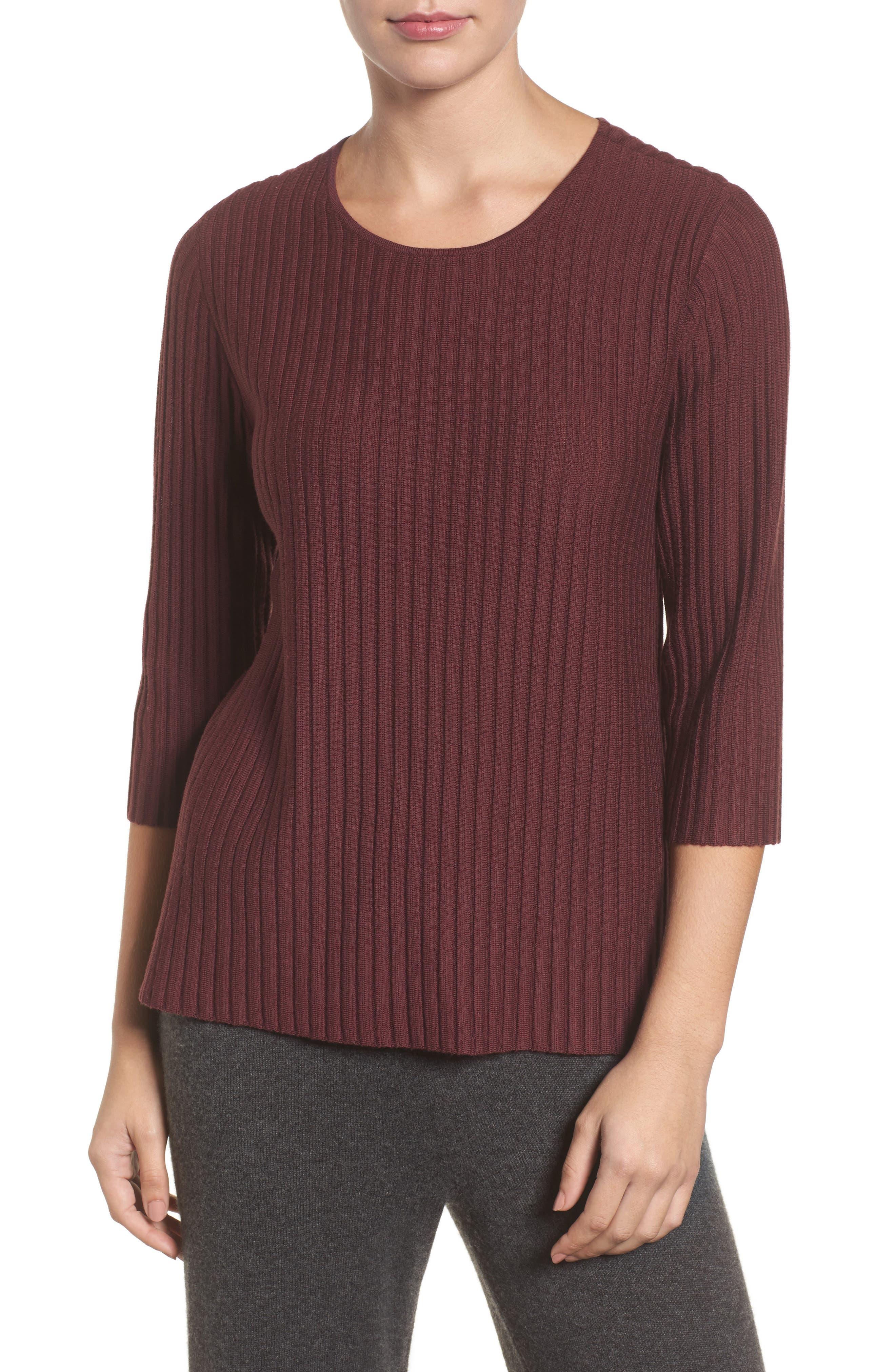 Ribbed Merino Wool Sweater,                         Main,                         color, Claret