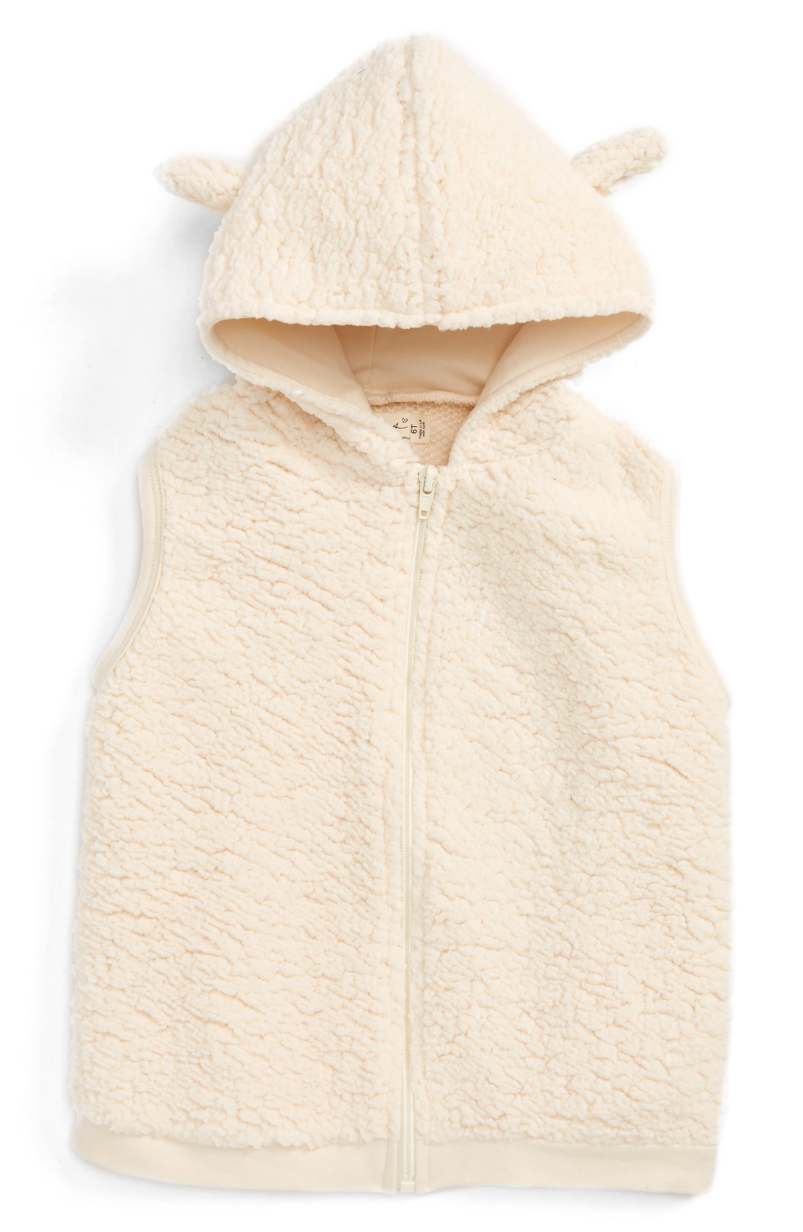 Little Bear Fuzzy Vest,                         Main,                         color, Cloud White