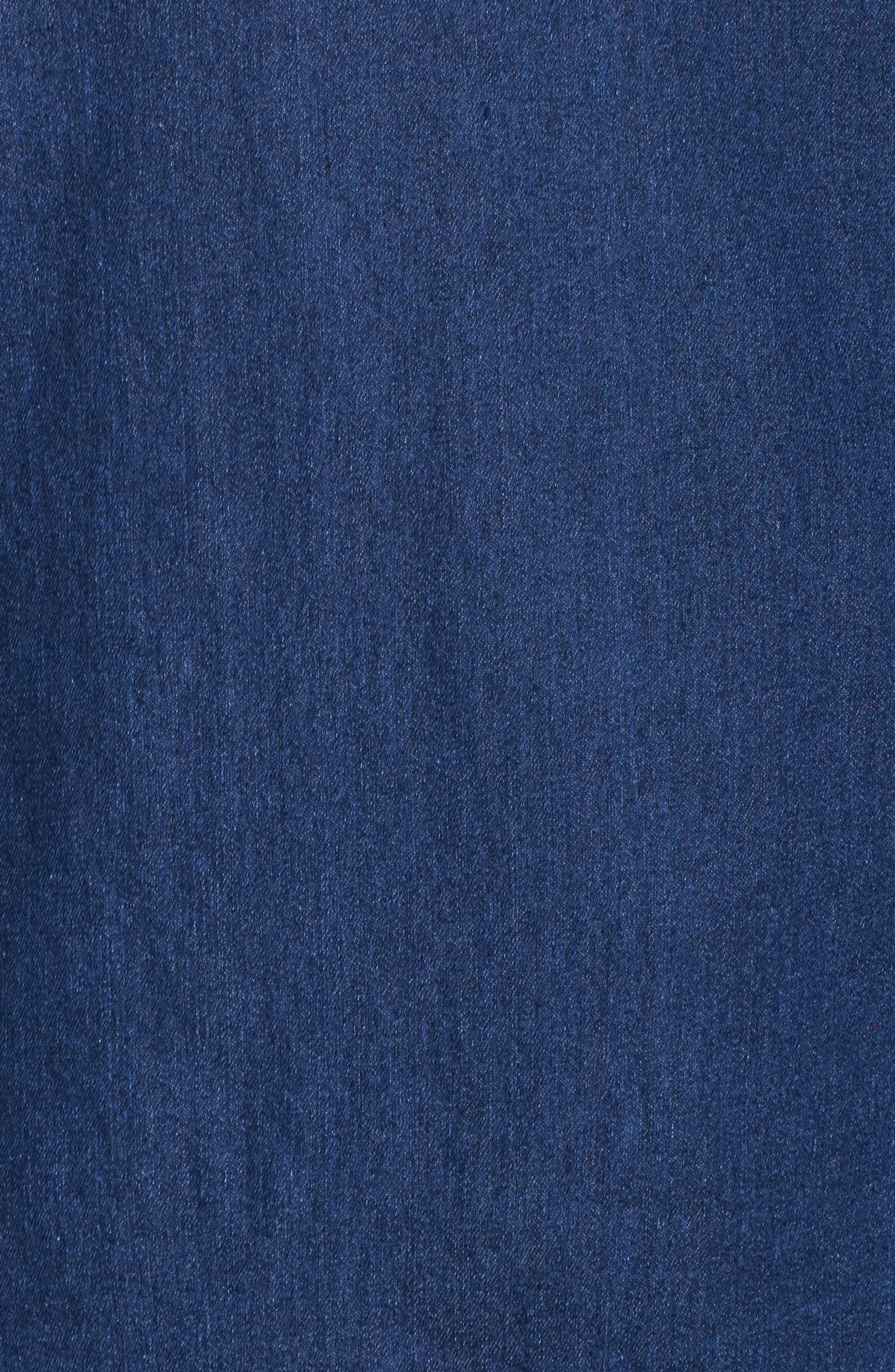 Blouson Sleeve Denim Top,                             Alternate thumbnail 5, color,                             Mid Denim