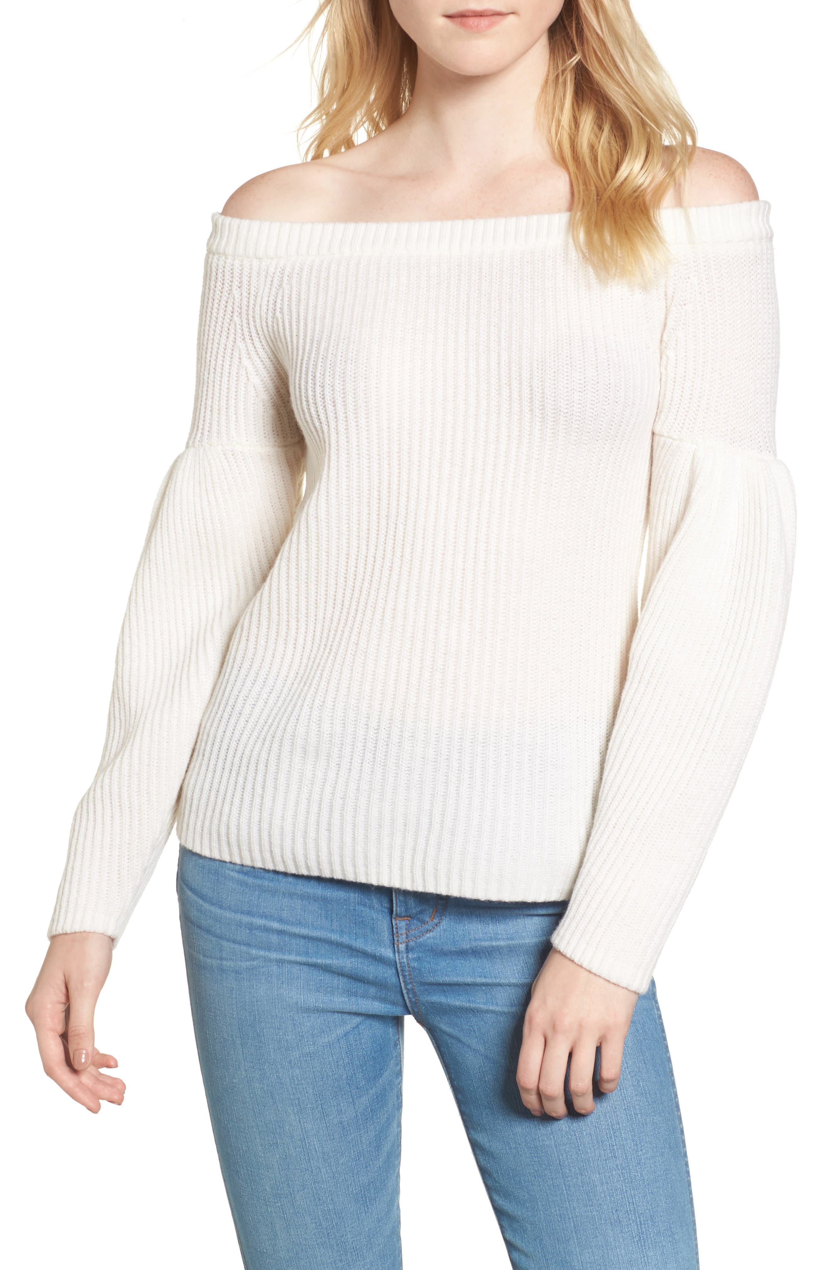 Lottie Off the Shoulder Sweater,                         Main,                         color, White
