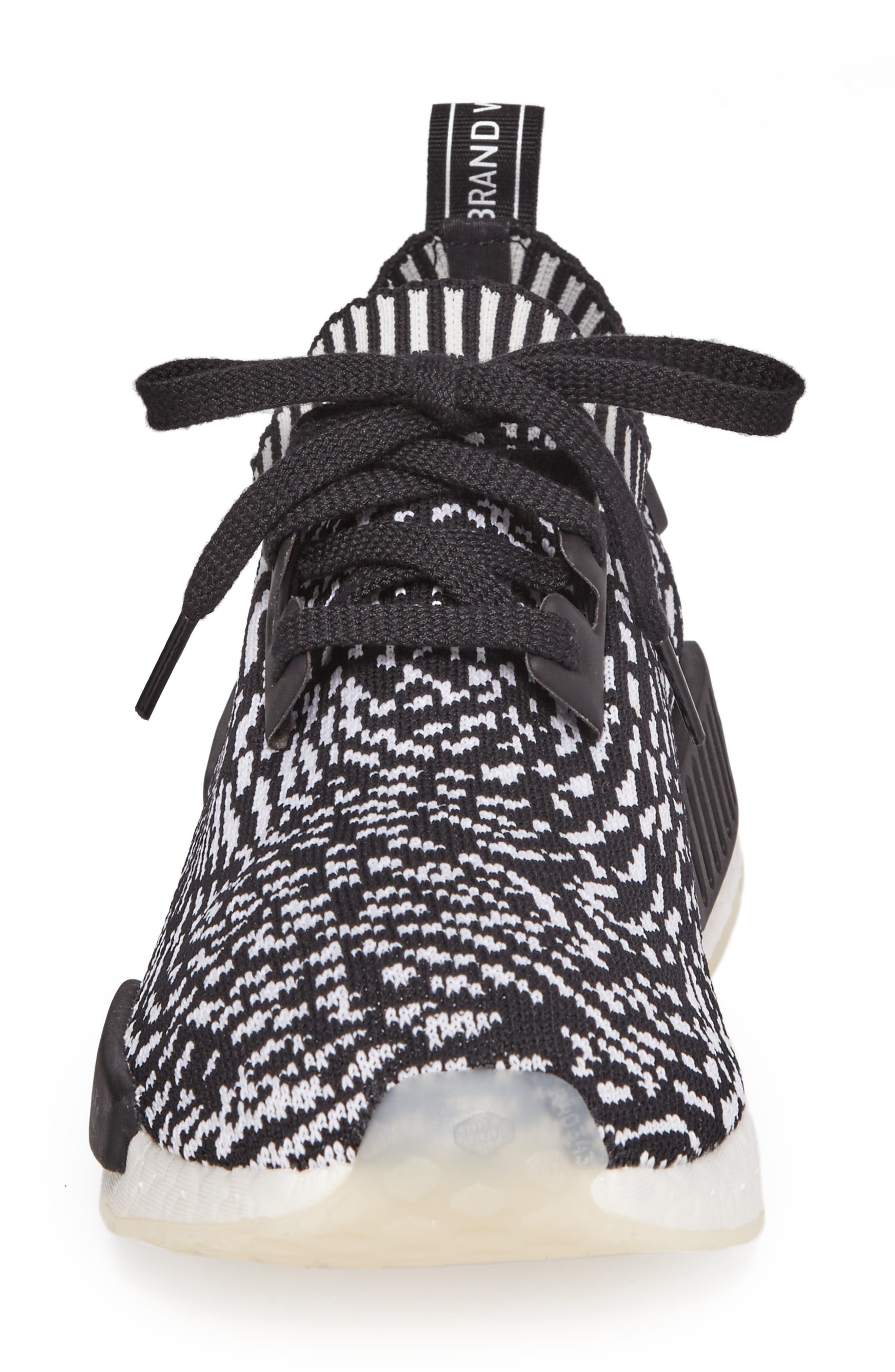 NMD R1 Primeknit Sneaker,                             Alternate thumbnail 4, color,                             Core Black/ Core Black/ White