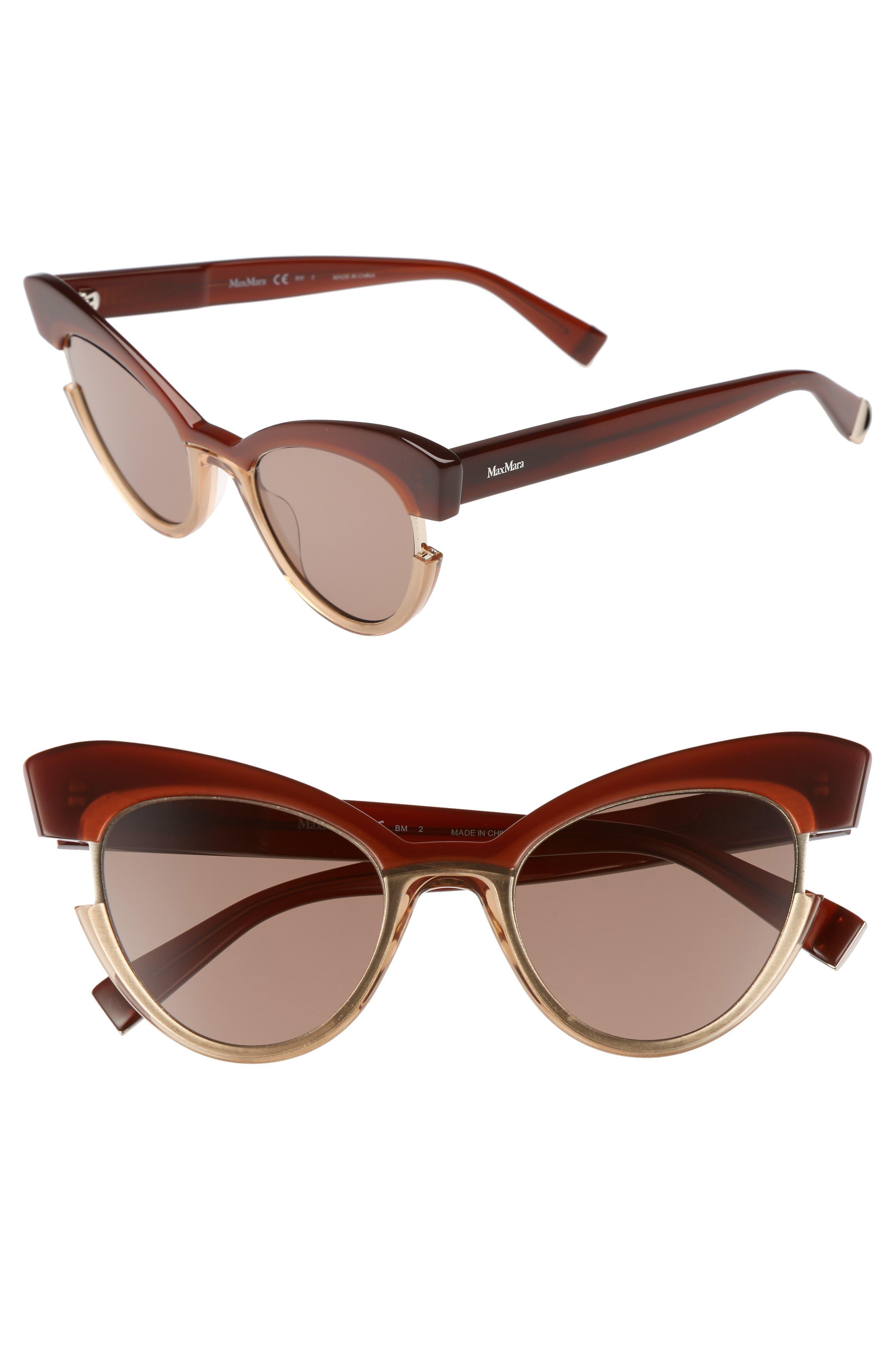 49mm Gradient Lens Cat Eye Sunglasses,                         Main,                         color, Brown