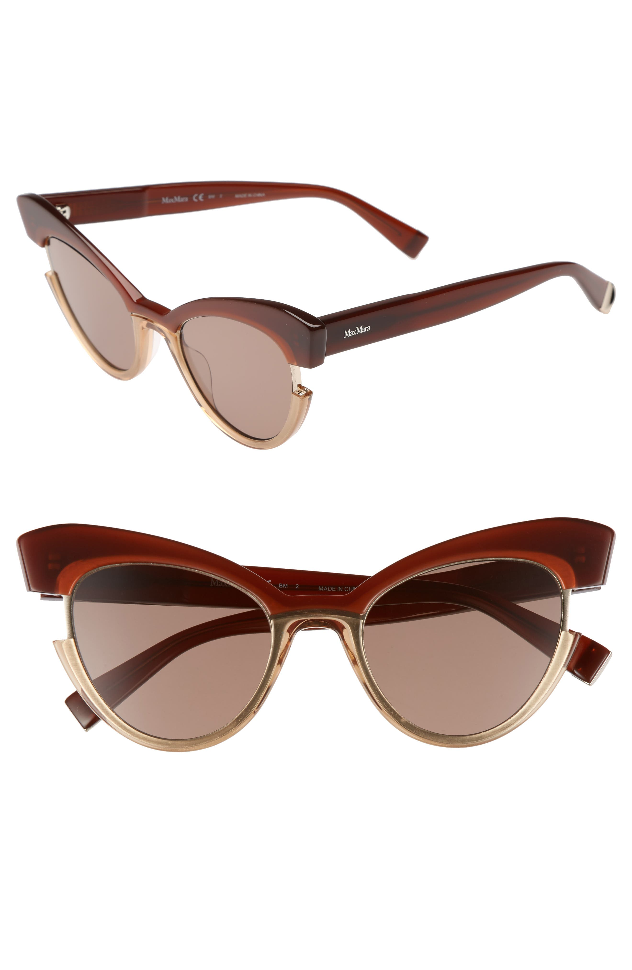 Max Mara 49mm Gradient Lens Cat Eye Sunglasses