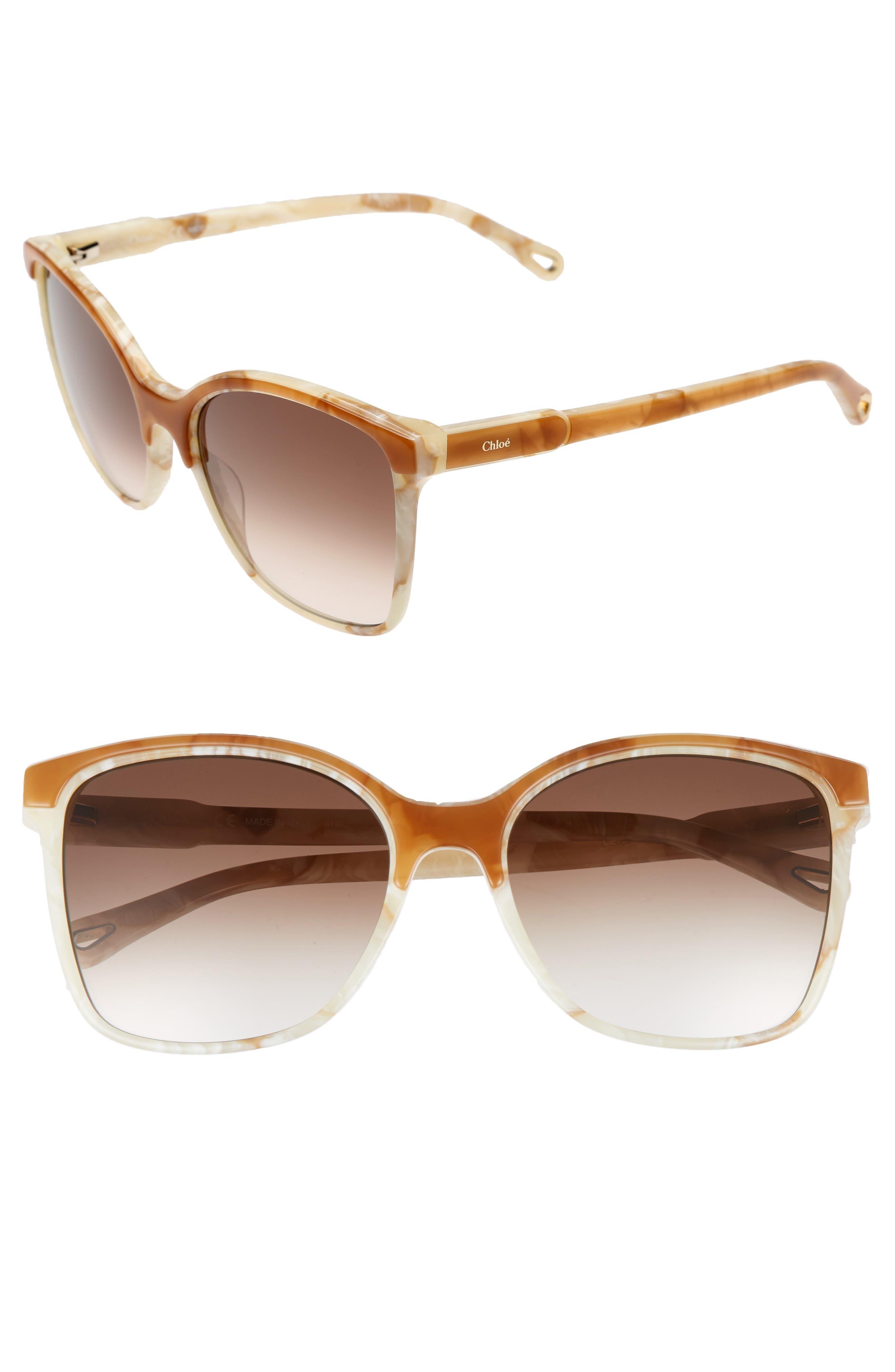 Alternate Image 1 Selected - Chloé 59mm Brow Bar Sunglasses
