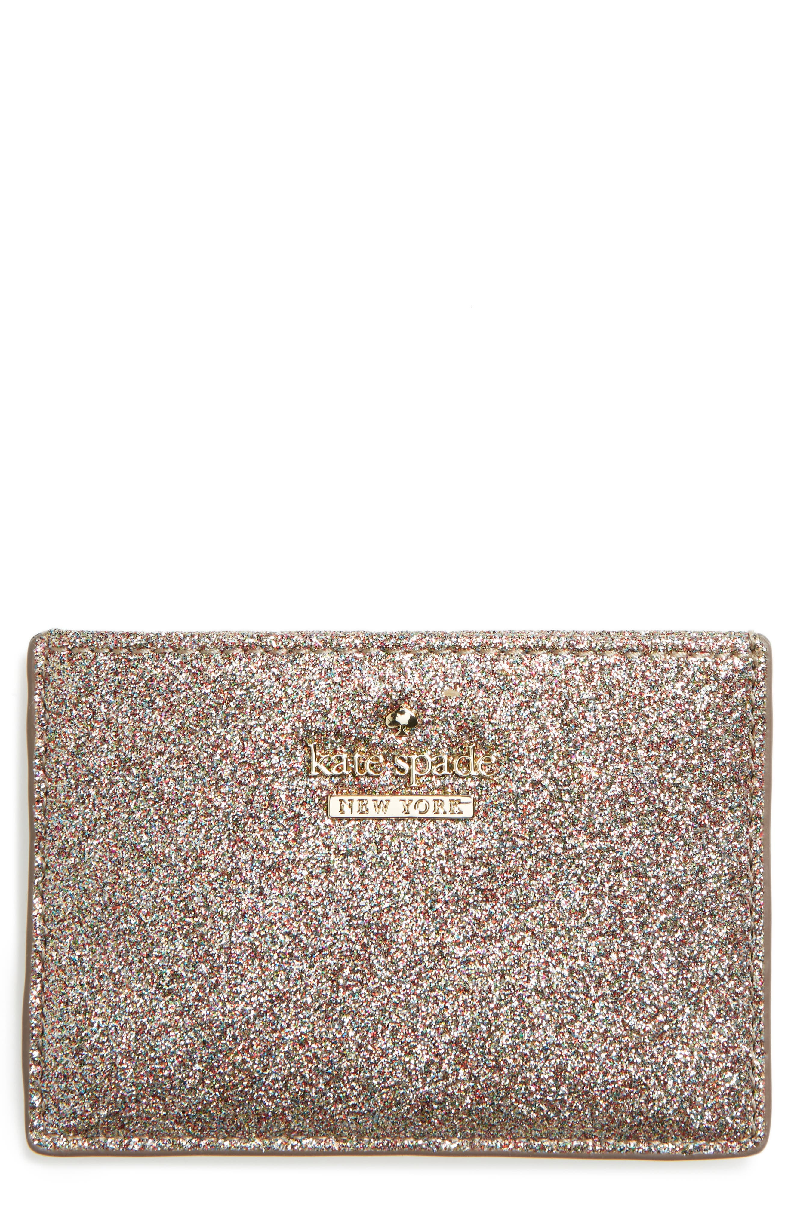 kate spade new york burgess court glitter card holder