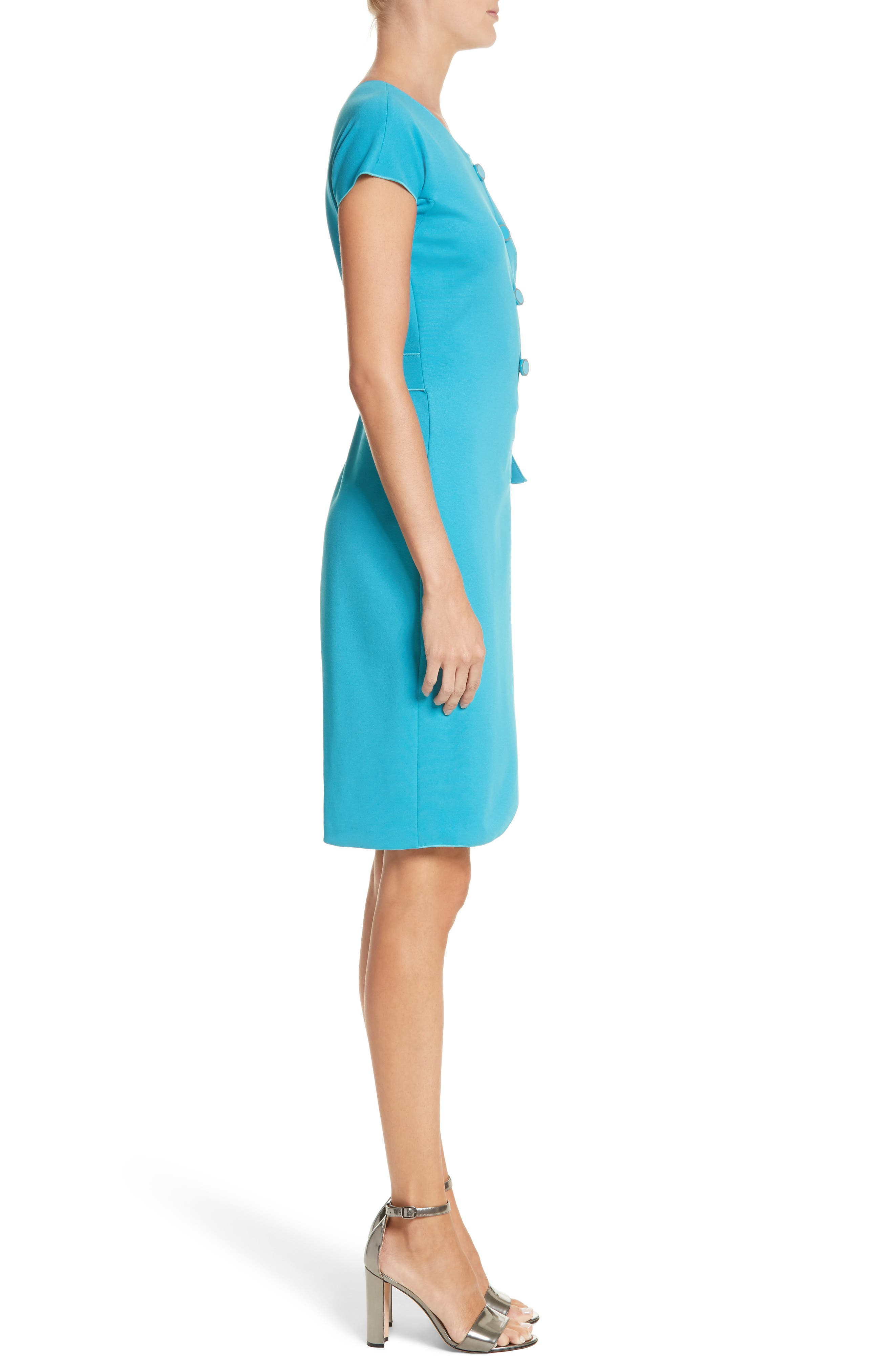 Knotted Wrap Skirt Dress,                             Alternate thumbnail 3, color,                             Solid Turquoise/ Aqua
